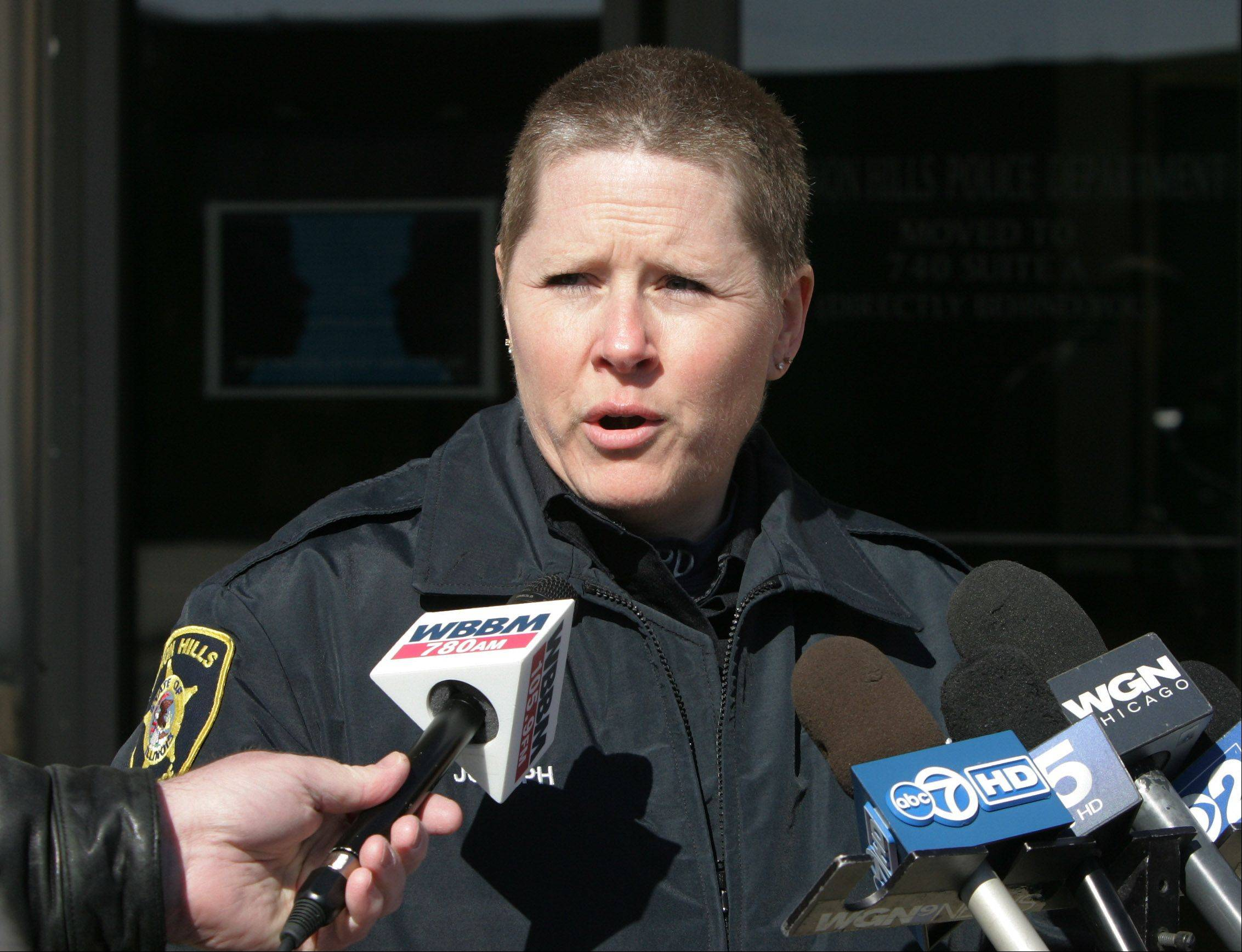 Vernon Hills Police Department spokeswoman Sharon Joseph describes the events that led to a police shooting at the station. Howard R. Lazarus, of Mundelein, walked into the station and pulled a replica gun on an officer. The officer fired two shots at Lazarus, wounding him.