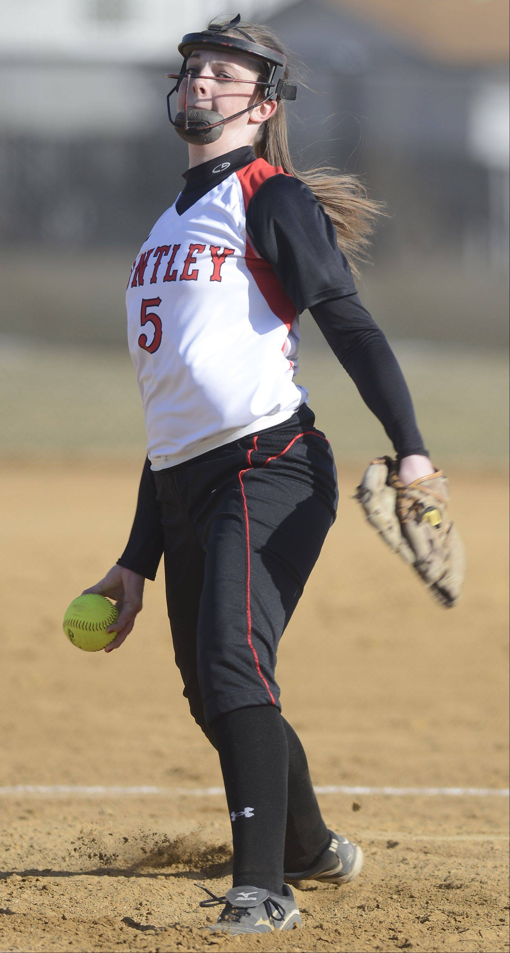 Huntley pitcher Haley Spannraft delivers during Wednesday's game against Rolling Meadows.