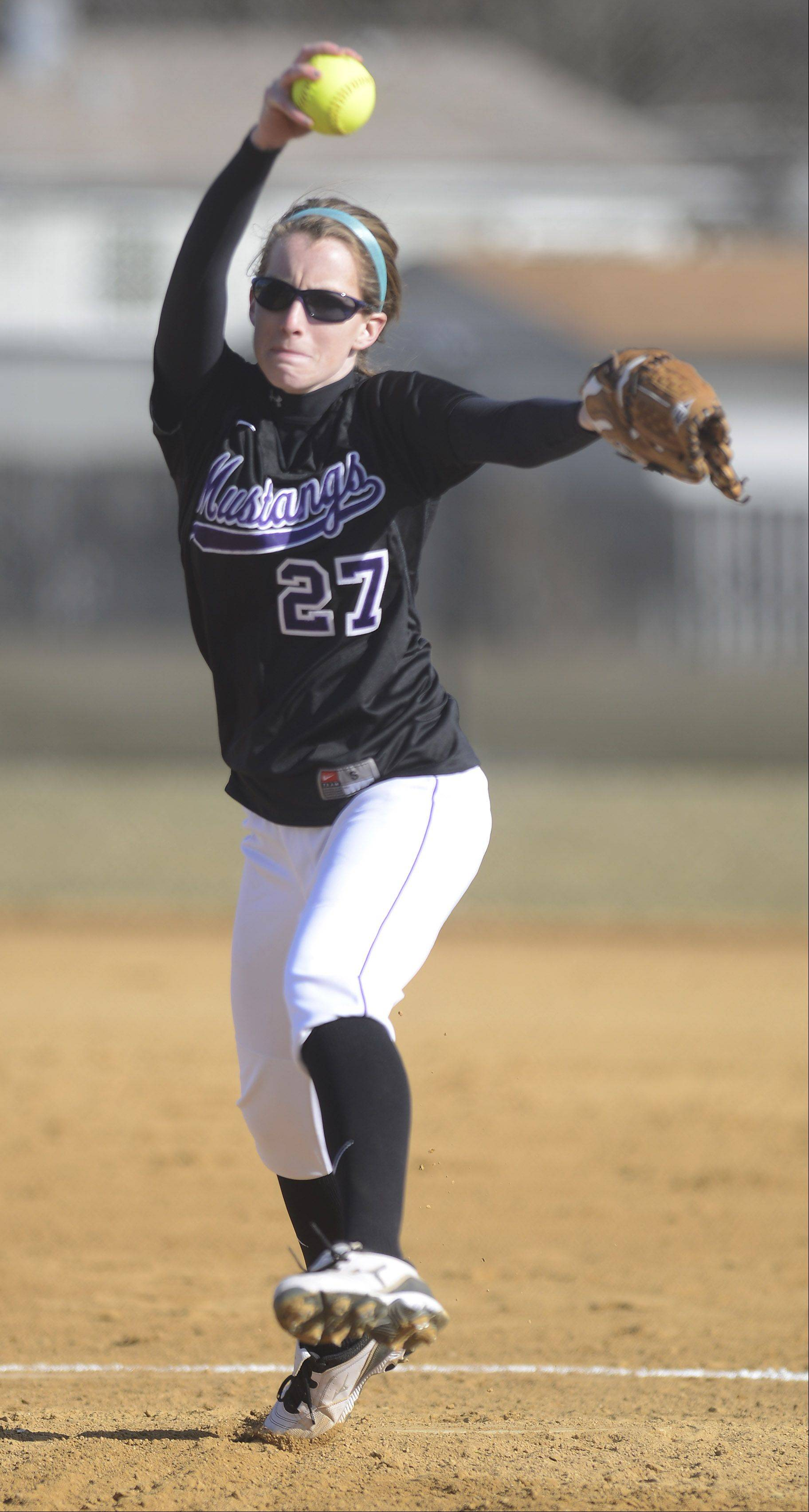 Rolling Meadows pitcher Sara Brunlieb delivers during Wednesday's game against Huntley.