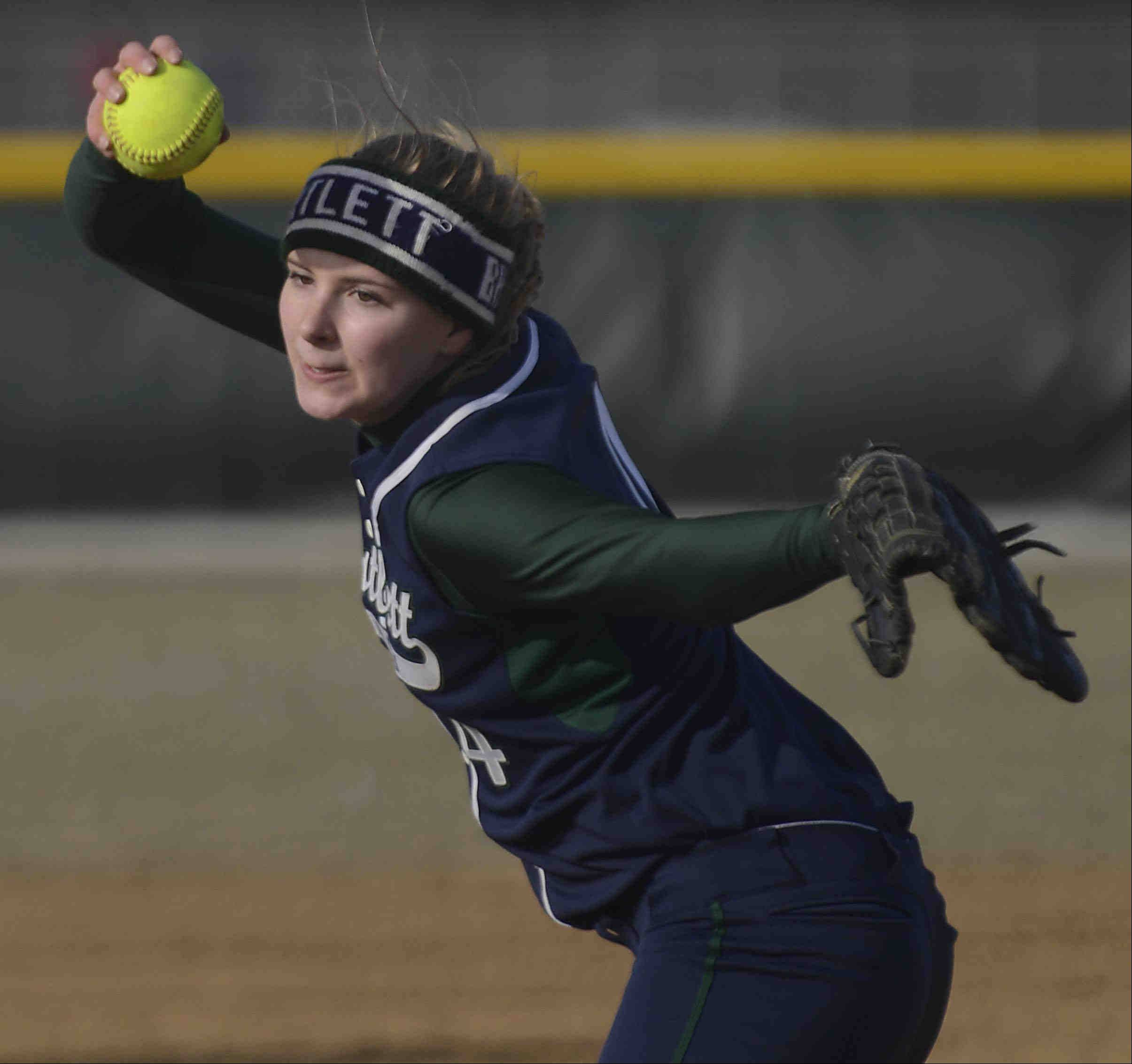 Bartlett' starting pitcher Jessica Kirby delivers against Streamwood Wednesday in Bartlett.