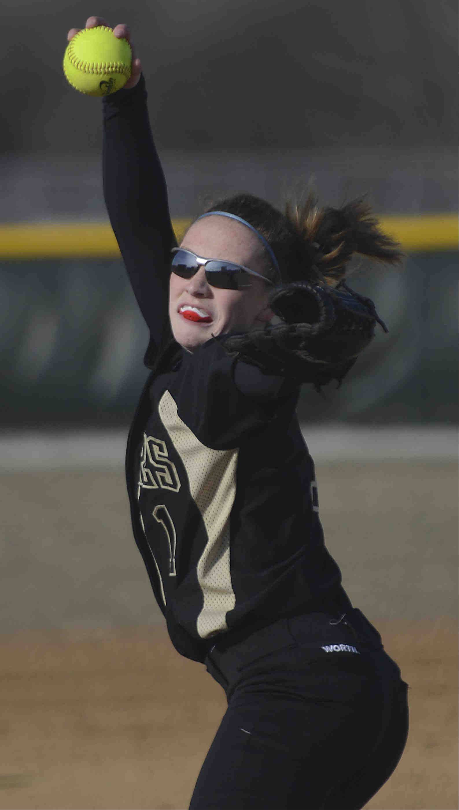 Streamwood starting pitcher Jessica Daley delivers against Bartlett Wednesday in Bartlett.