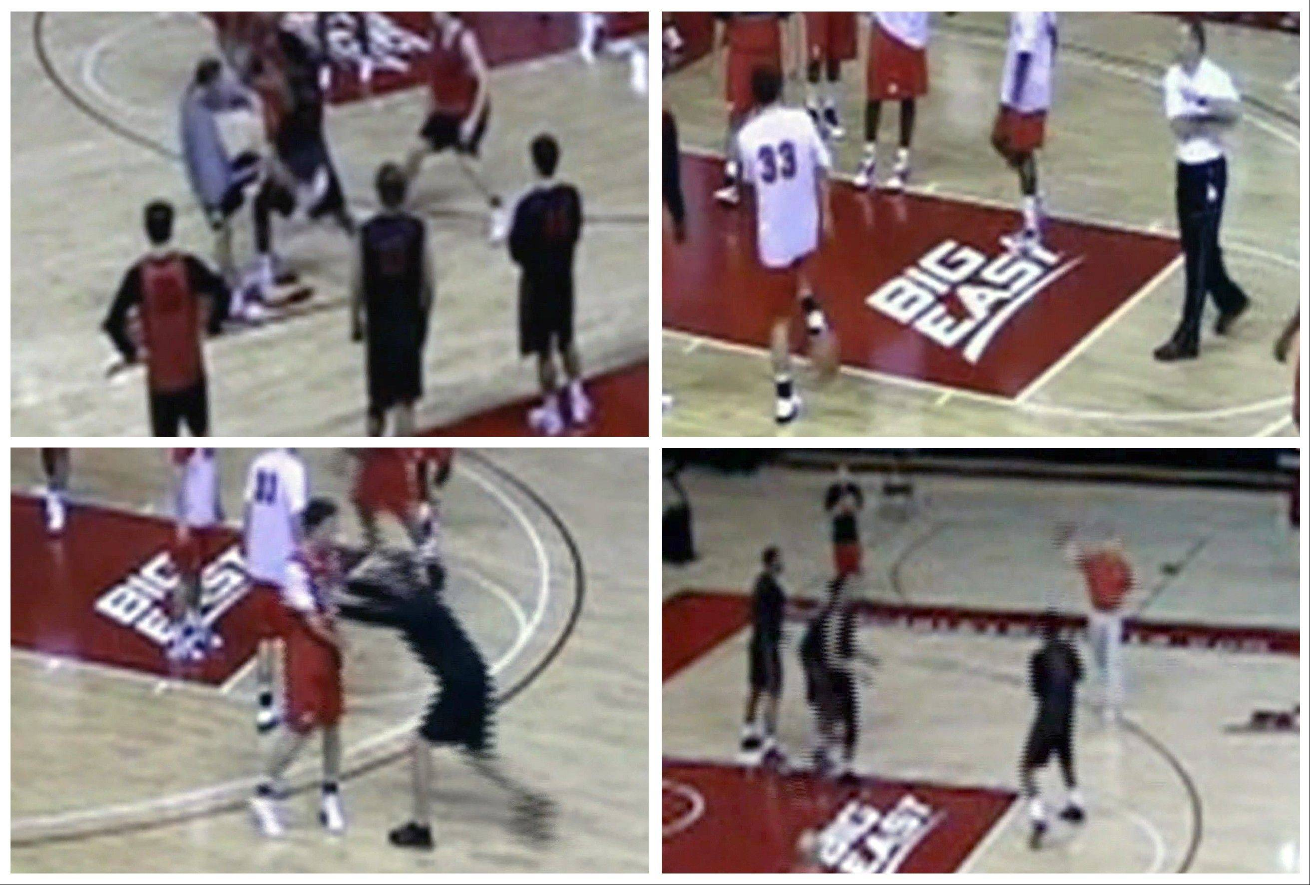 In this four-image combo taken from an ESPN video, Rutgers men's basketball coach Mike Rice kicks, shoves, and throws balls at his players during NCAA college basketball practices in Piscataway, N.J. Fueled by outrage from even the governor when the video went public, Rutgers fired Rice on Wednesday, April 3, 2013, after deciding it didn't go far enough by suspending and fining him for shoving, kicking and throwing balls at players along with spewing gay slurs.