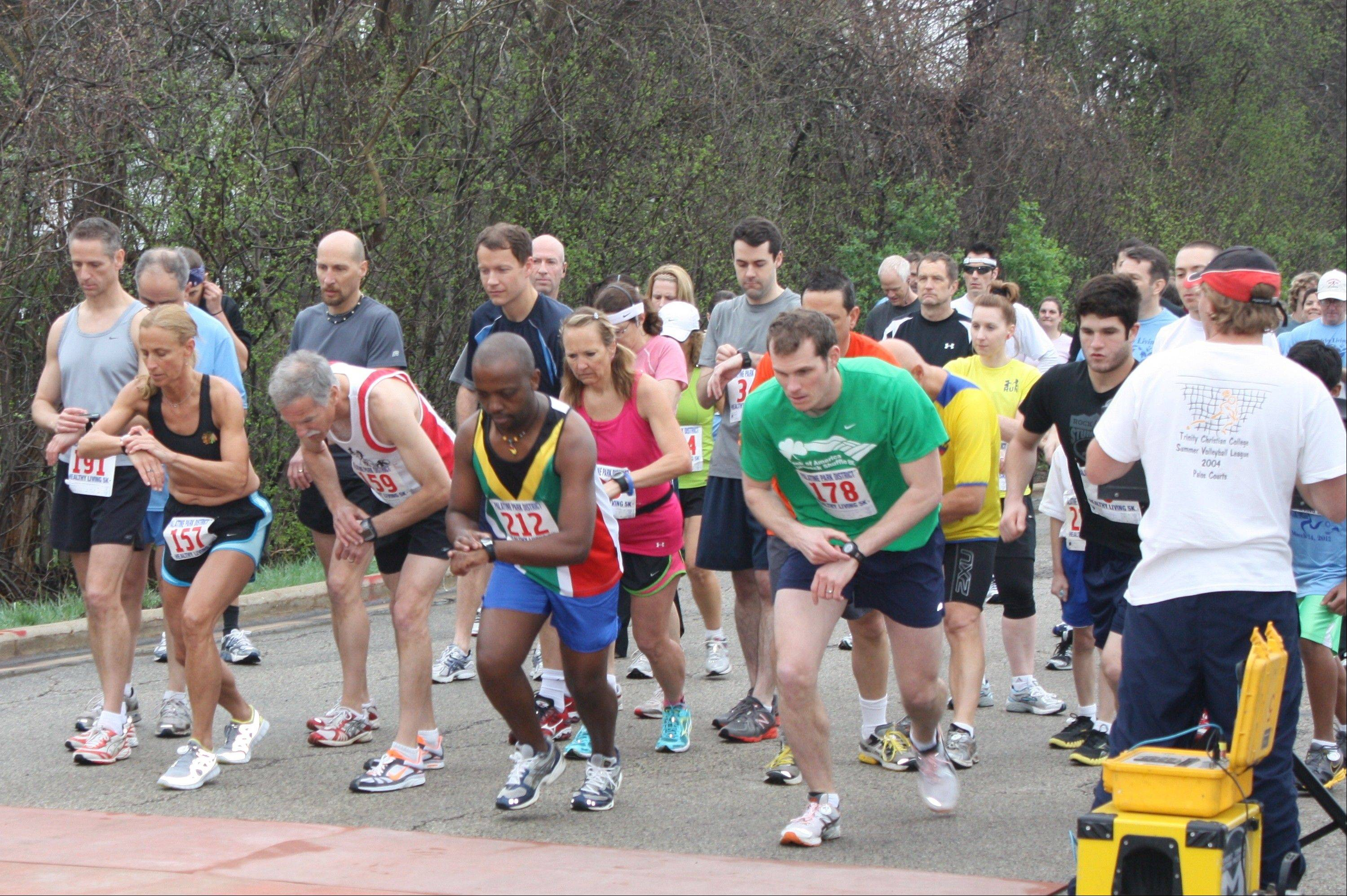 Runners prepare for the start of last year's Healthy Living 5K in Palatine. This year, the Palatine Park District will hold its Healthy Living Event on Saturday, April 6, at Birchwood Recreation Center. The second annual event includes a 5K run/walk, 12-mile bike ride and a healthy expo.