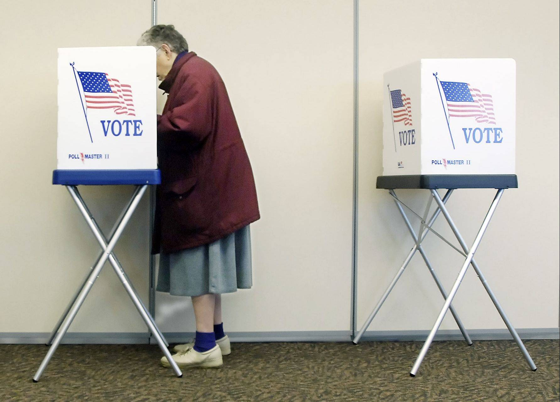 A Woodstock voter casts an early ballot.