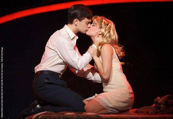 "While posing as a doctor, Frank (Stephen Anthony) falls in love with a kindhearted nurse (Aubrey Mae Davis) in the national tour of the Marc Shaiman-Scott Wittman musical, ""Catch Me If You Can."""