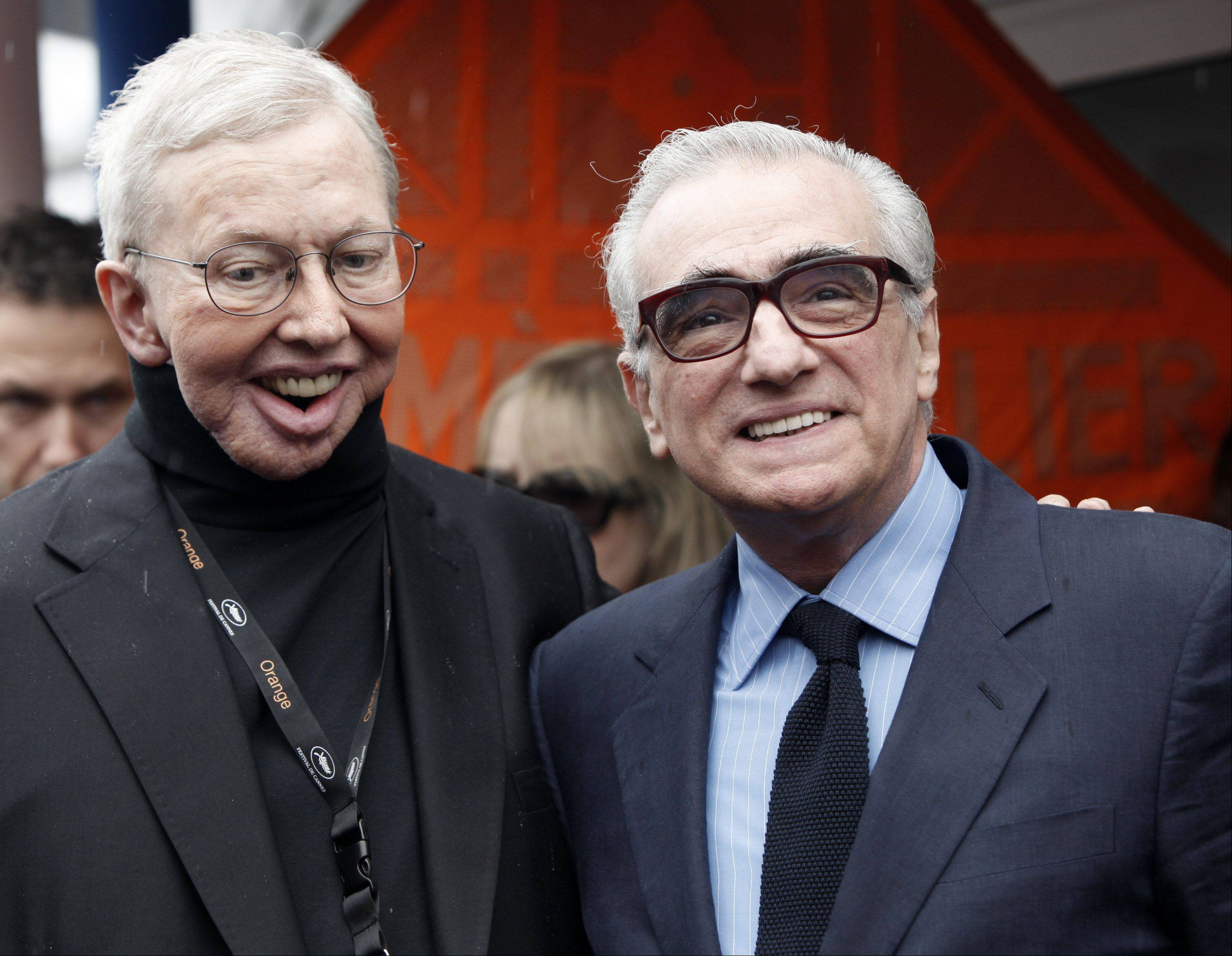 U.S. film critic Roger Ebert, left, and U.S. film director Martin Scorsese during the 62nd International film festival in Cannes, southern France, Friday, May 15, 2009.