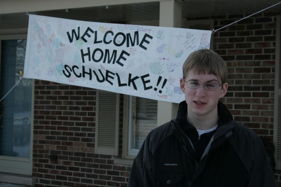 Matt Schuelke, then a Fremd High School junior, got a nice welcome home to Hoffman Estates in February 2008 after a skiing accident.