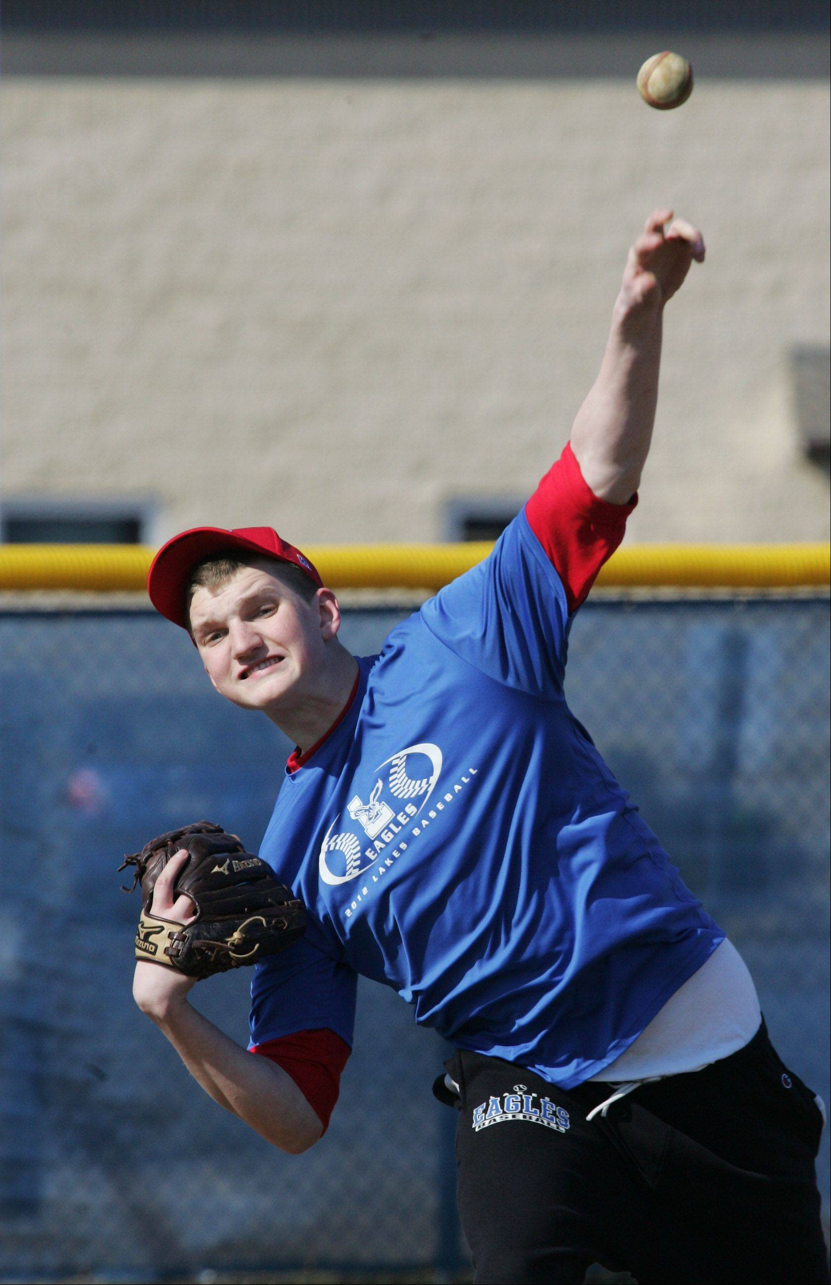 Lakes' Justin Demand stands 6 feet, 5 inches and figures to be the Eagles' ace this spring.