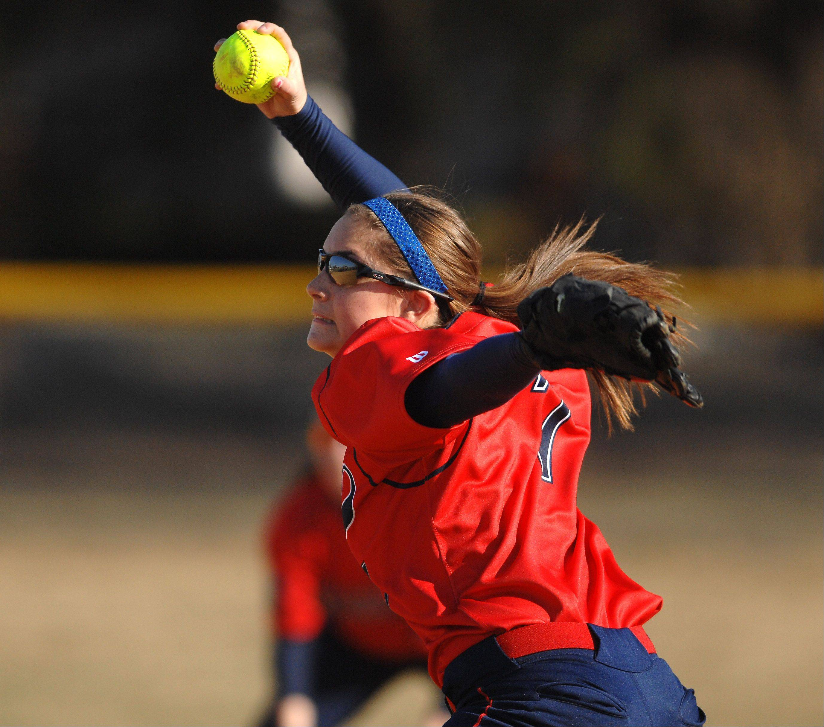 West Aurora's Kaylee Hayton delivers a pitch to a Rosary batter during Thursday's game in Aurora.