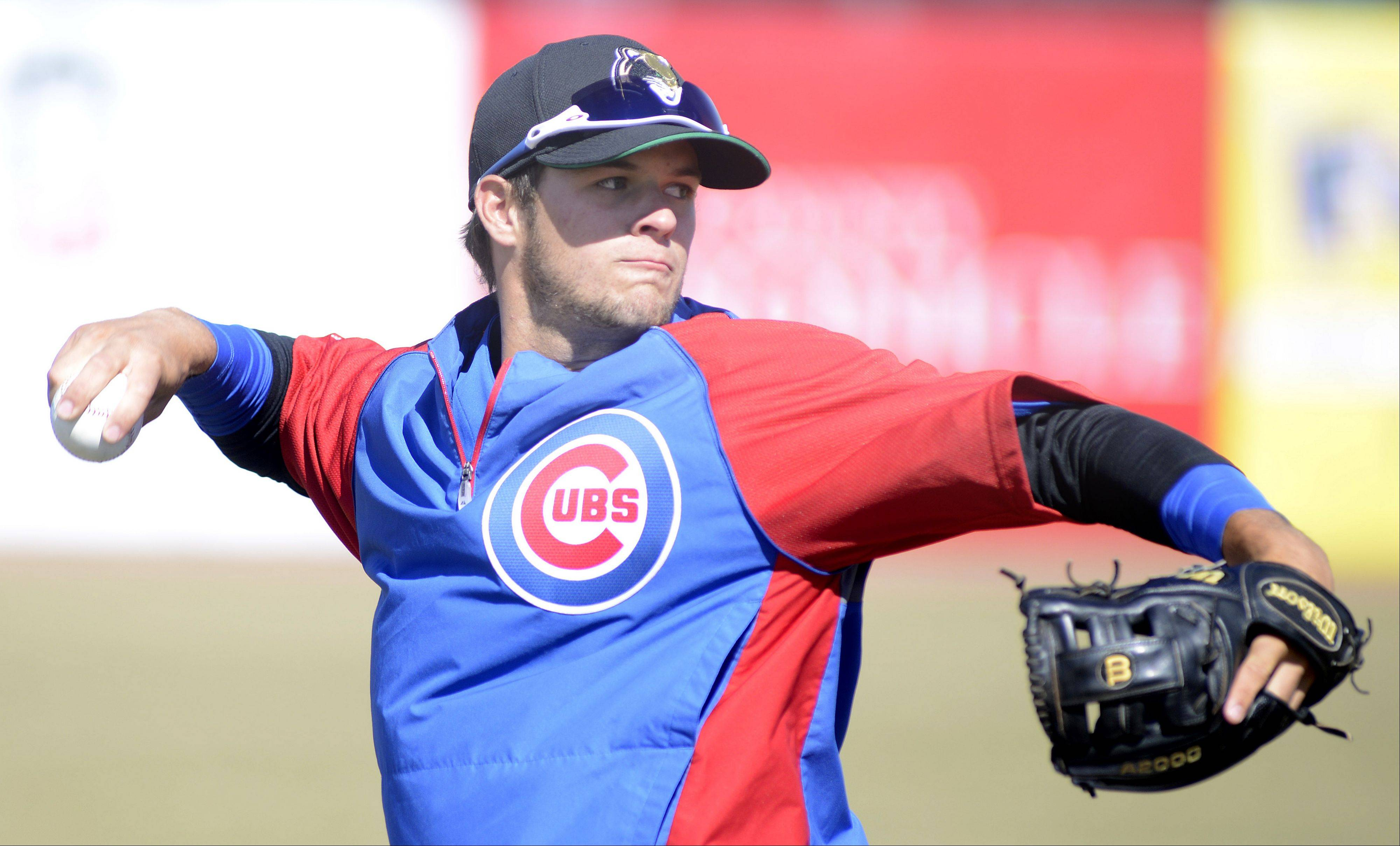 David Bote gets ready for the Kane County Cougars to open the season in Geneva on Thursday against Quad Cities.