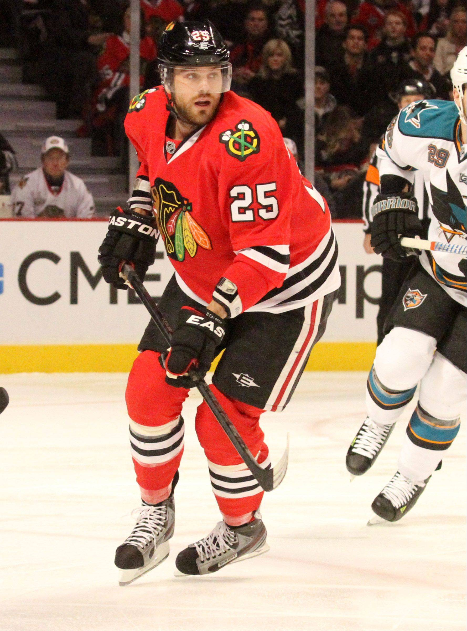 After being hit in the mouth by a puck, Blackhawks left wing Viktor Stalberg will replace his half shield with a full face shield.