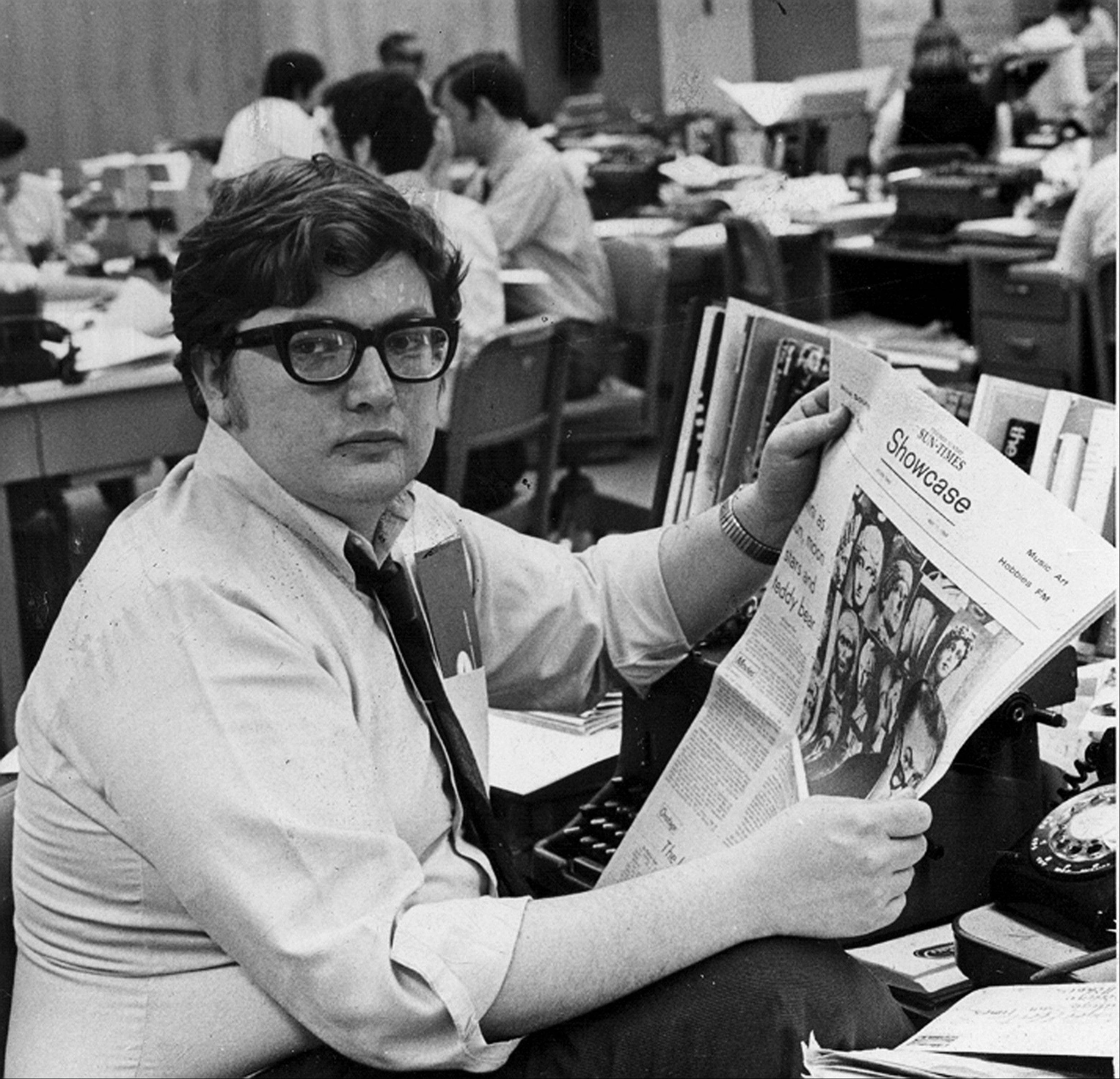 Movie critic Roger Ebert in the newsroom of the Chicago Sun-Times.