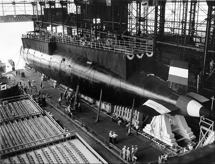 In this 1960 photo, the nuclear-powered submarine USS Thresher is prepared for launching at the Portsmouth Naval Shipyard in Kittery, Maine. Fifty years ago 129 men lost their lives when the sub sank during deep-dive testing off Cape Cod. The deadliest submarine disaster in U.S. history delivered a blow to national pride during the Cold War and became the impetus for safety improvements.