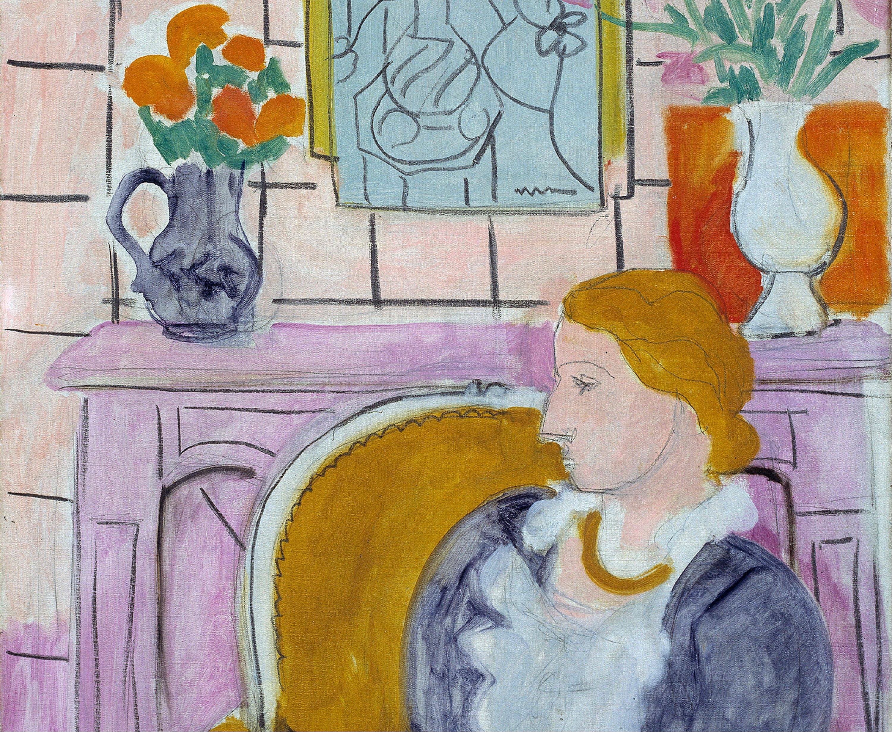 "Part of the painting ""Blue Dress in an Yellow Arm Chair"", circa 1936 by Henry Matisse."
