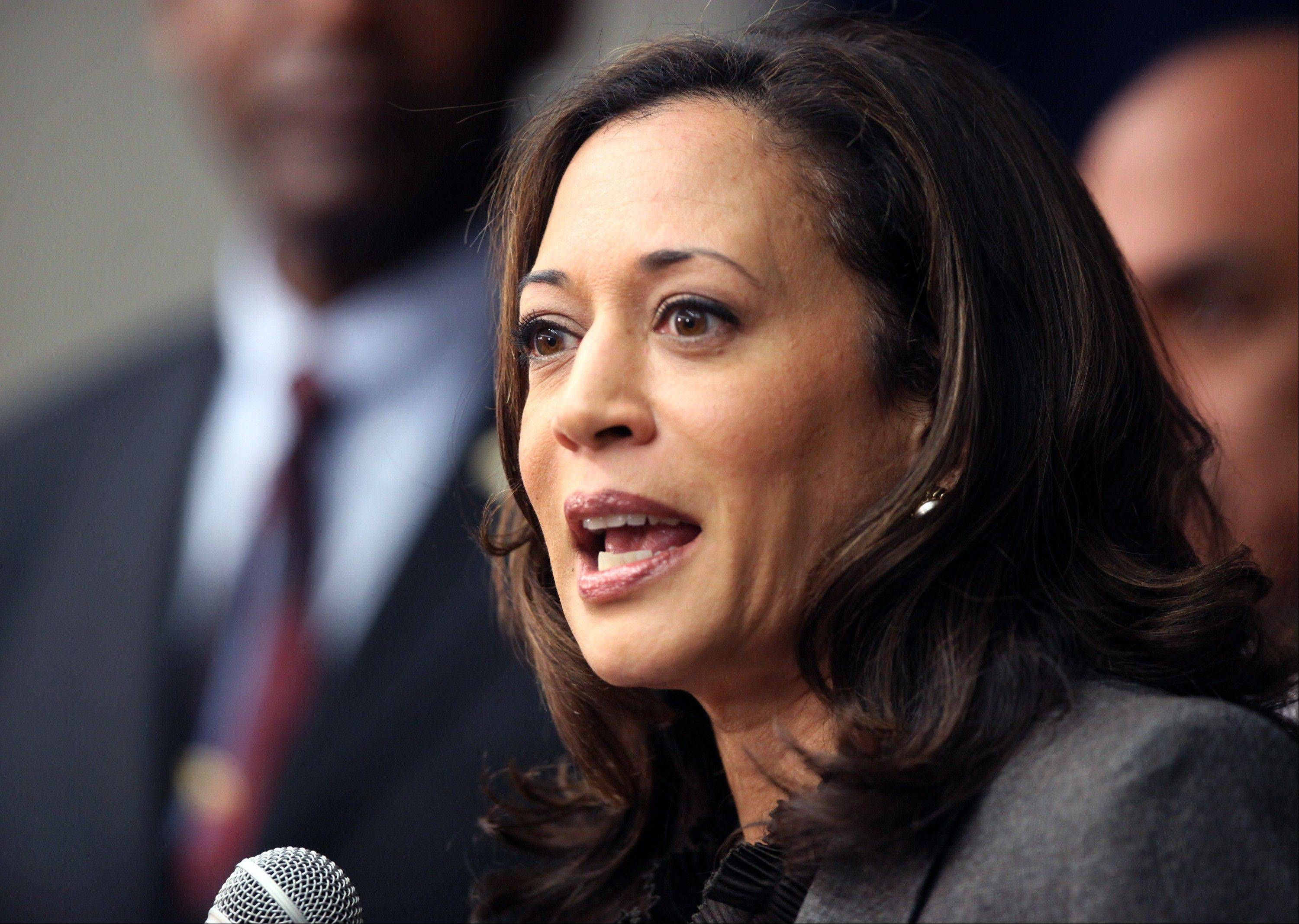 "California Attorney General Kamala Harris speaking during a news conference in Los Angeles. President Barack Obama praised Harris for more than her smarts and toughness at a Democratic Party event Thursday. The president also commended Harris for being ""the best-looking attorney general"" in the country during a Democratic fundraising lunch in the Silicon Valley."
