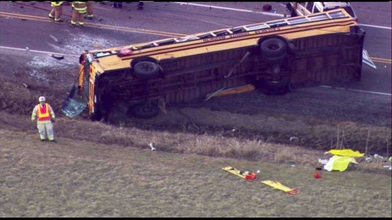 The scene of a school bus accident in Wadsworth on Friday morning. There were minor injuries to students on the bus.