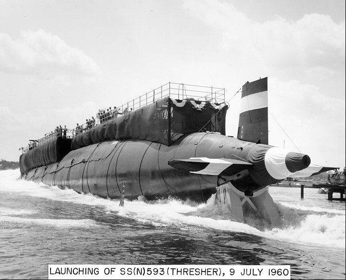 In this 1960 handout photo, the nuclear-powered submarine USS Thresher is launched at the Portsmouth Naval Shipyard in Kittery, Maine. Fifty years ago 129 men lost their lives when the sub sank during deep-dive testing off Cape Cod.