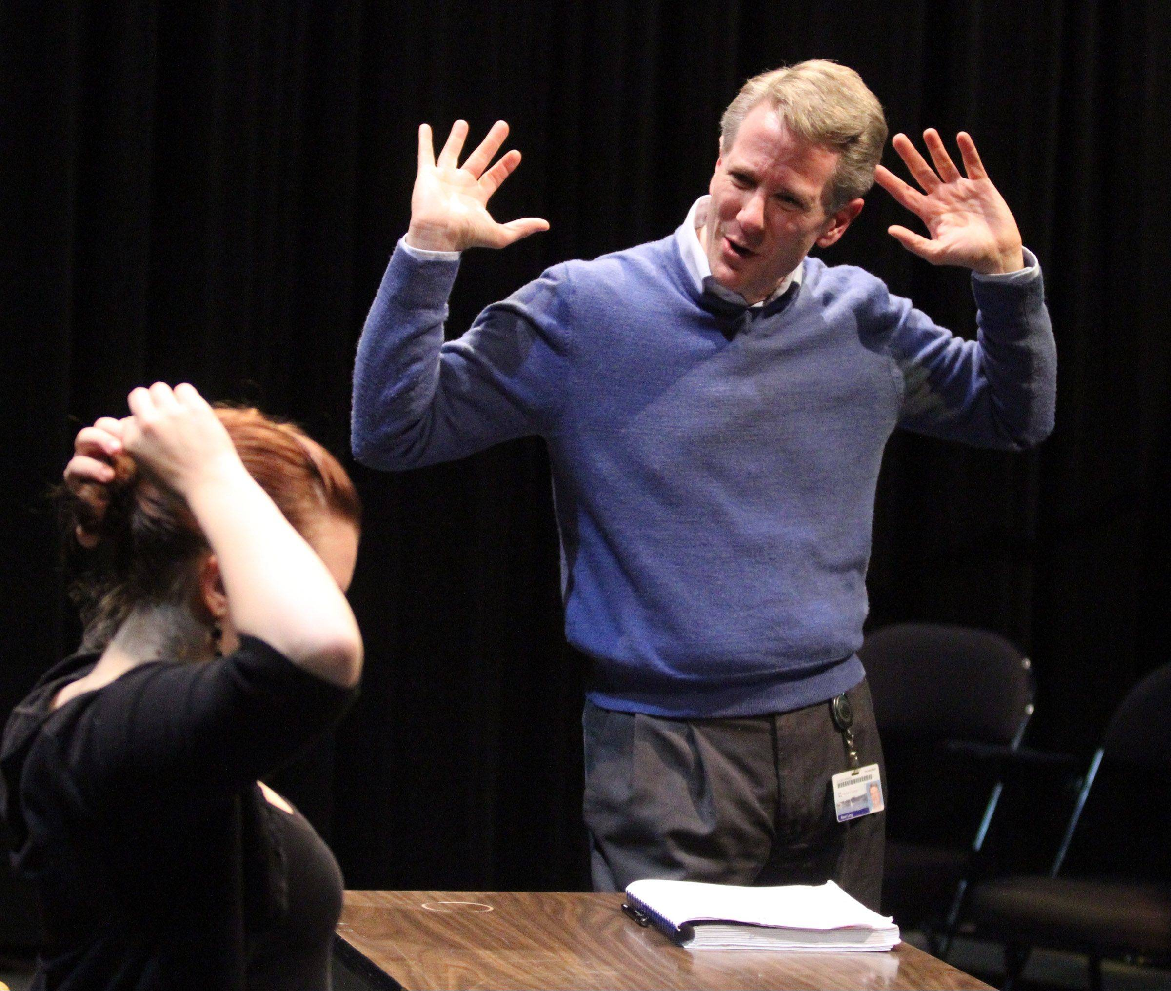 Kevin Long directs Kathy Harth of Naperville playing the role of Lucille Frank during a rehearsal in the Black Box Theatre.