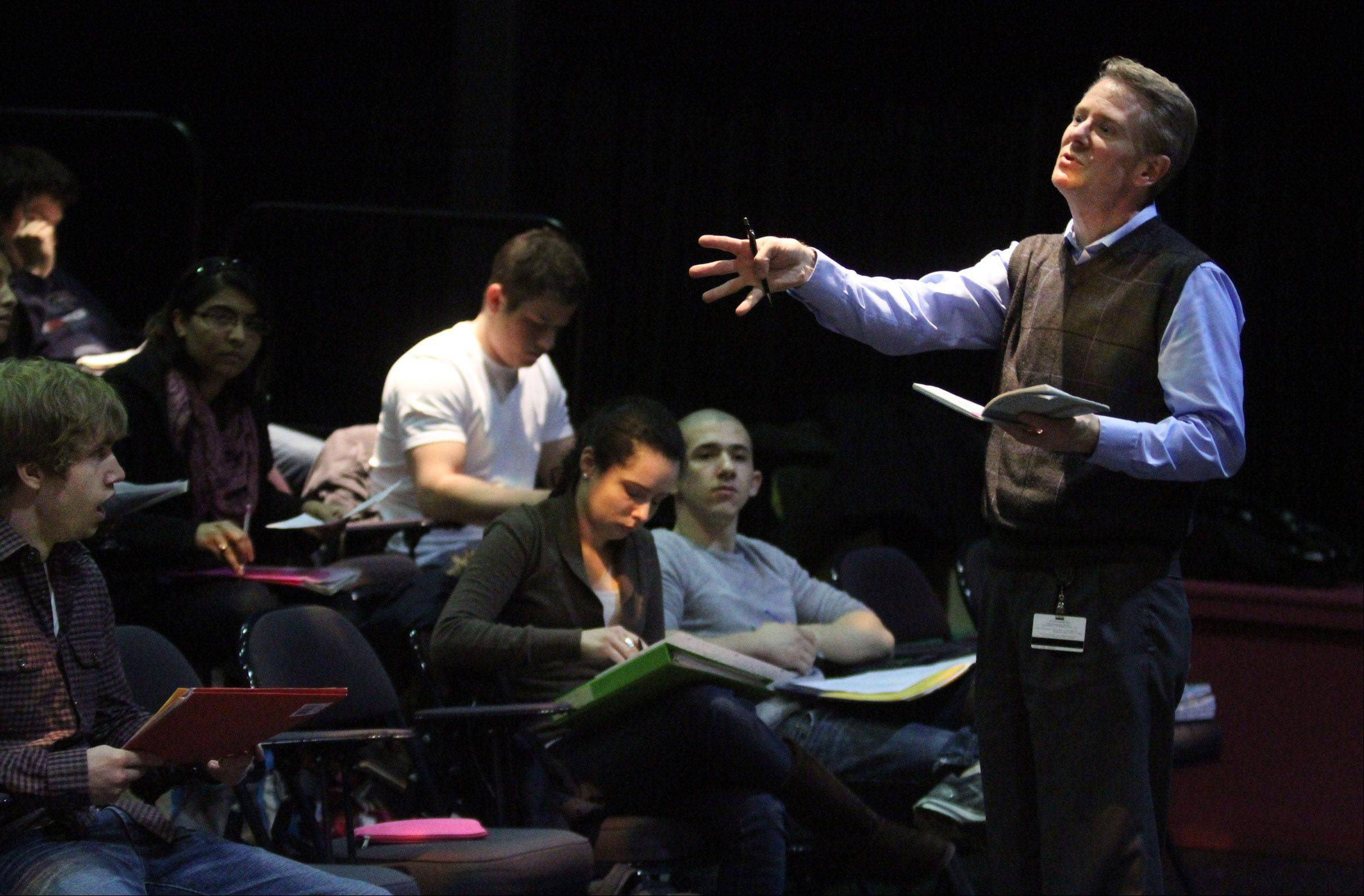 Long instructs Introduction to Theatre class in the Black Box Theatre at Harper College in Palatine.