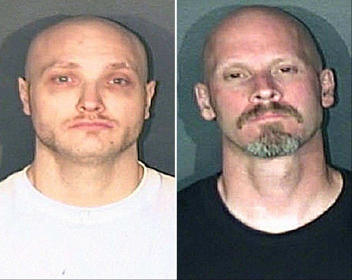 Thomas James Guolee, 31, left, and James Franklin Lohr, 47, are wanted for questioning in the Tom Clements homicide investigation. Lohr was taken into custody early Friday.