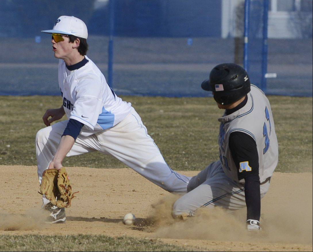 Maine West's Raul Anaya steals second base as Prospect's Patrick Donahue tries to corral the throw during Friday's game.