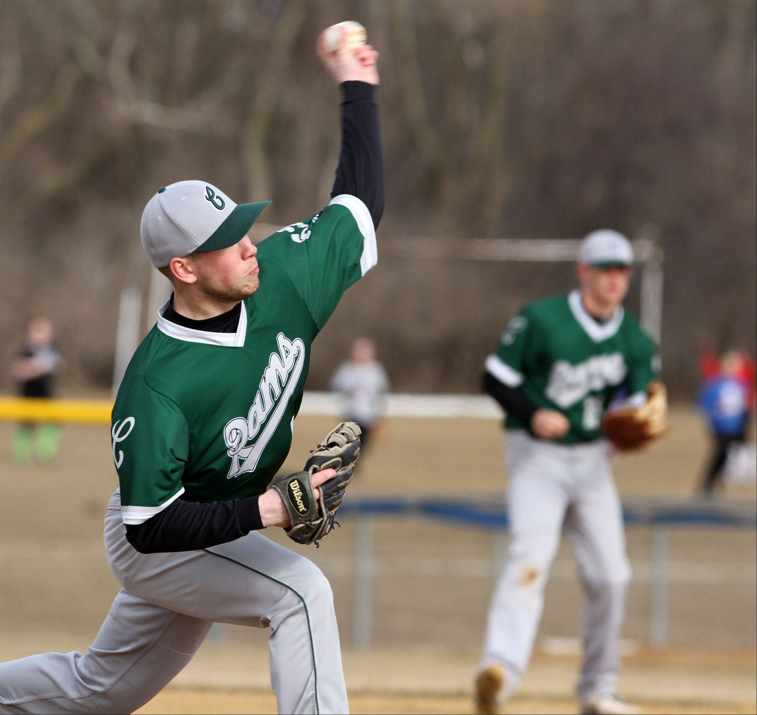 Grayslake Central pitcher Kevin Peloza delivers to the plate at Lakes on Friday.