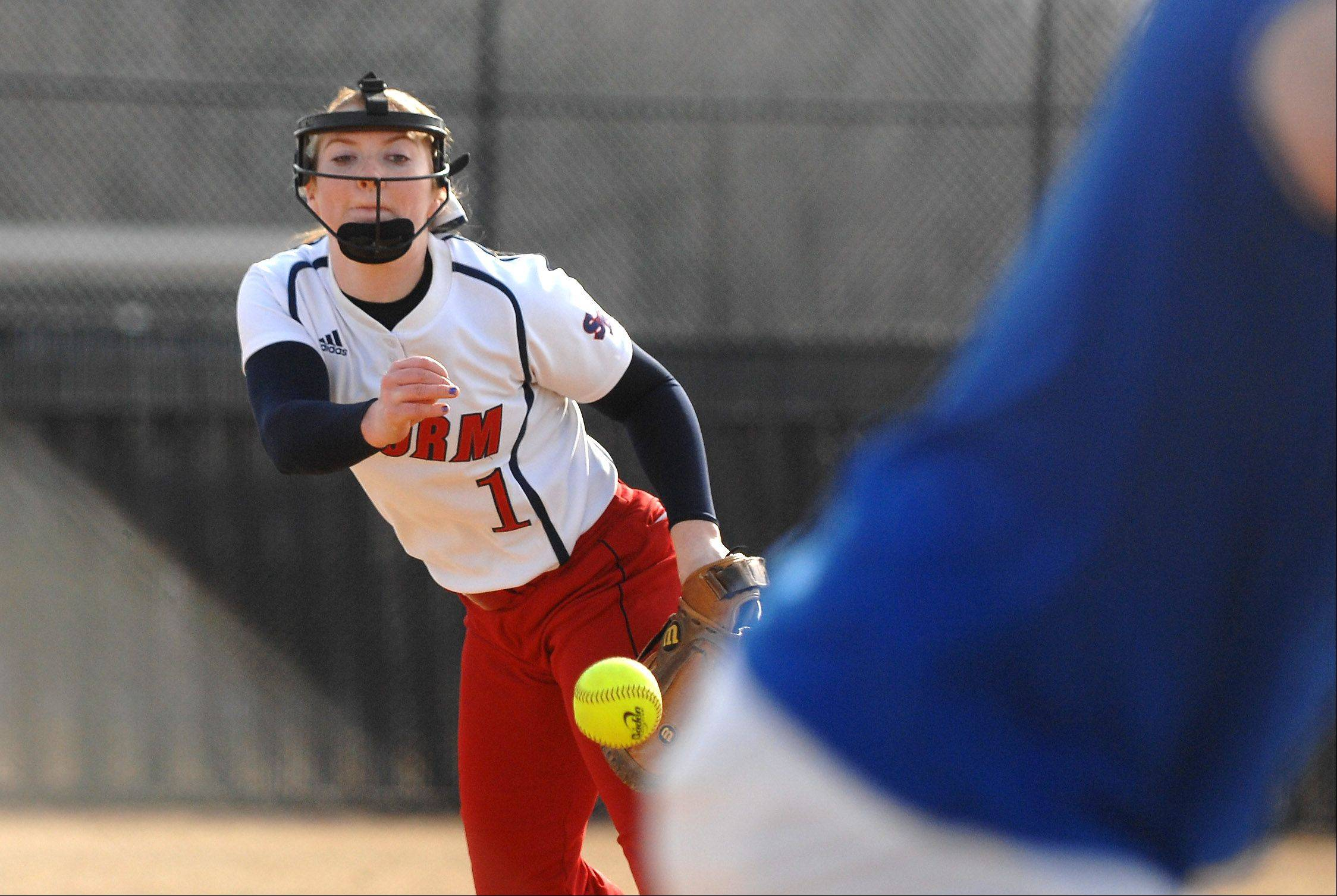 South Elgin's Paige Allen delivers a pitch to a St. Charles North batter during Friday's game in St. Charles.