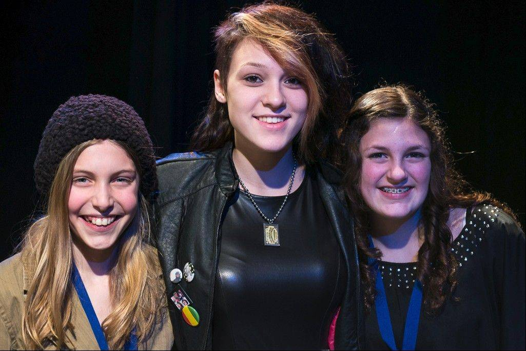 Bartlett Idol Emily Dziengel, previous Bartlett Idol Brooke Wottman and Bartlett Idol Vincenza Binetti Saturday, March 16, at the Bartlett Idol competition.