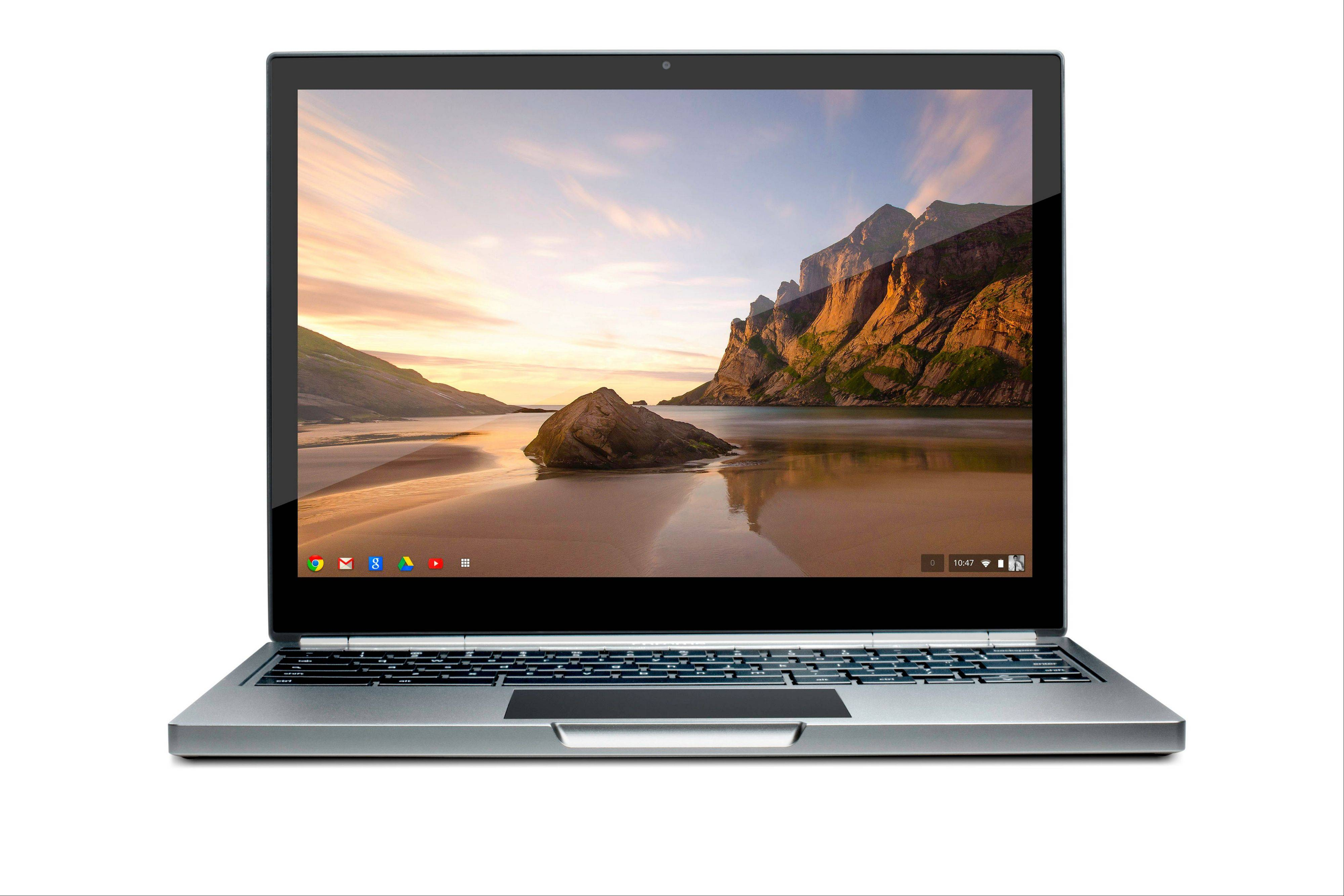This image provided by Google shows the company�s first high-end chromebook Pixel. According to a review by the Associated Press, the machine feels light and comfortable in my hands and its high-resolution display makes photos appear sharp.