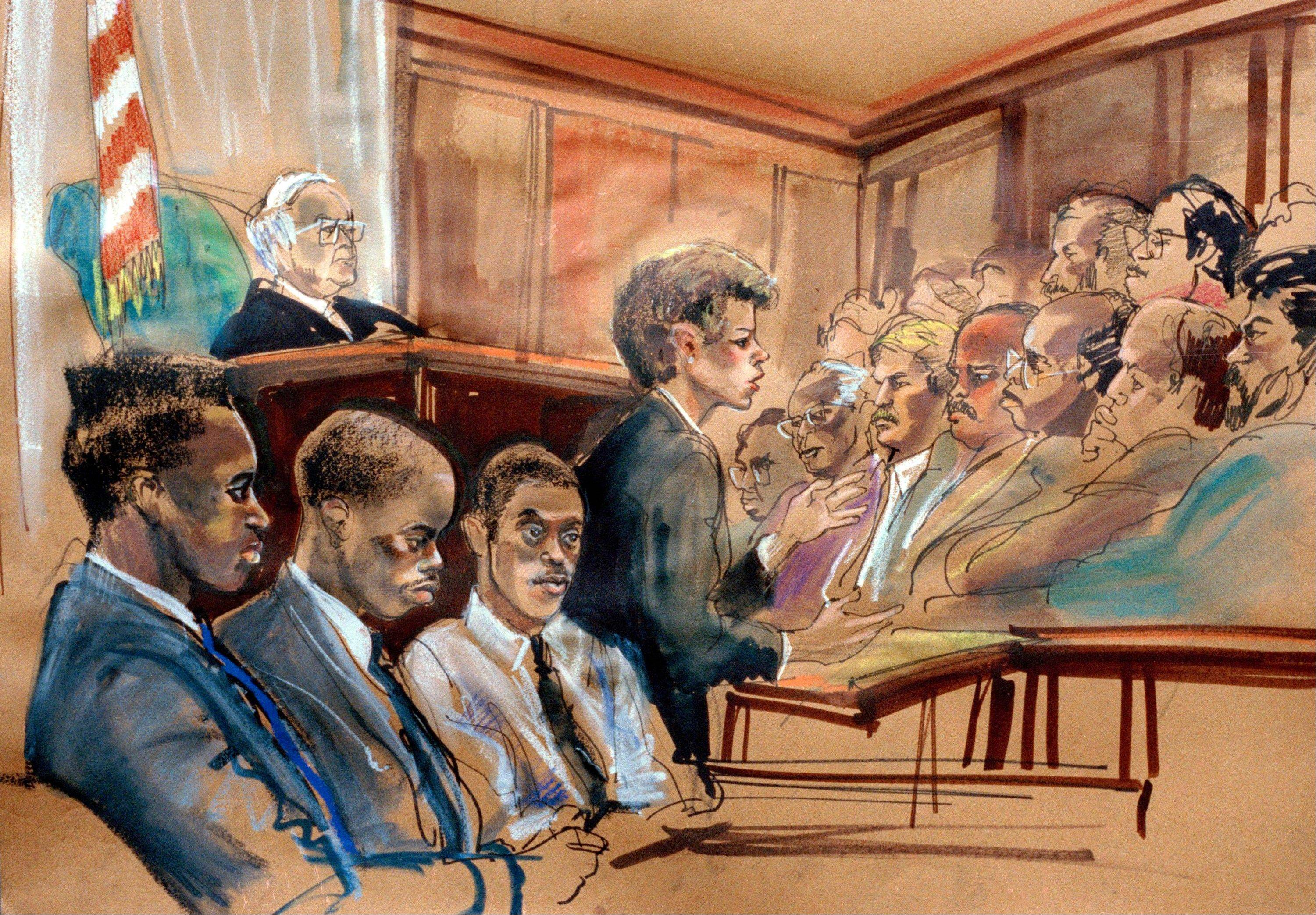 In this June 25, 1990, file photo of an artist�s rendering of the opening statements in the Central Park rape trial made in the State Supreme Court in New York, from left, defendants Yusef Salaam, Antron McCray and Raymond Santana sit in court while Assistant District Attorney Elizabeth Lederer speaks and Judge Thomas B. Galligan listens from the bench, upper left. Five teenage boys maintained their innocence as they grew up behind bars after being convicted of the rape and beating of the woman who came to be known as the Central Park jogger. Their convictions were eventually tossed out by a judge when new evidence surfaced linking someone else to the crime. But their legal battle goes on: A $250 million federal lawsuit against police and prosecutors has been pending nearly a decade, with no resolution in sight.