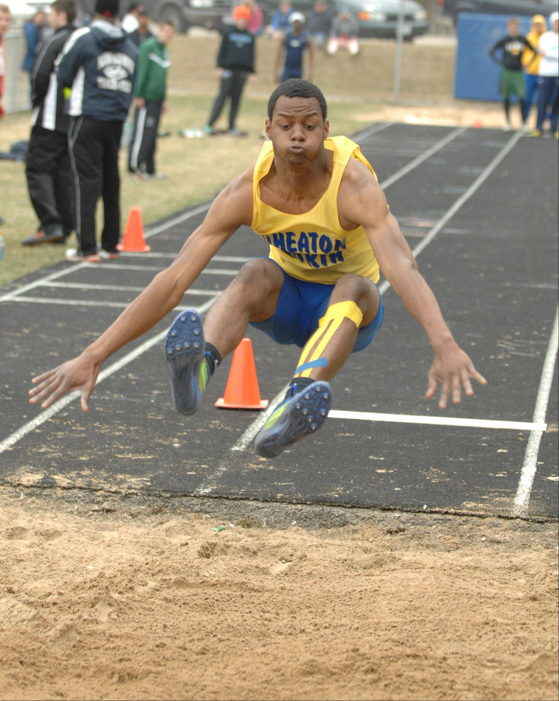 Zach Gordon of Wheaton Noth takes partin the long jump during the Wheaton North Best 4 boys track invitational Saturday.