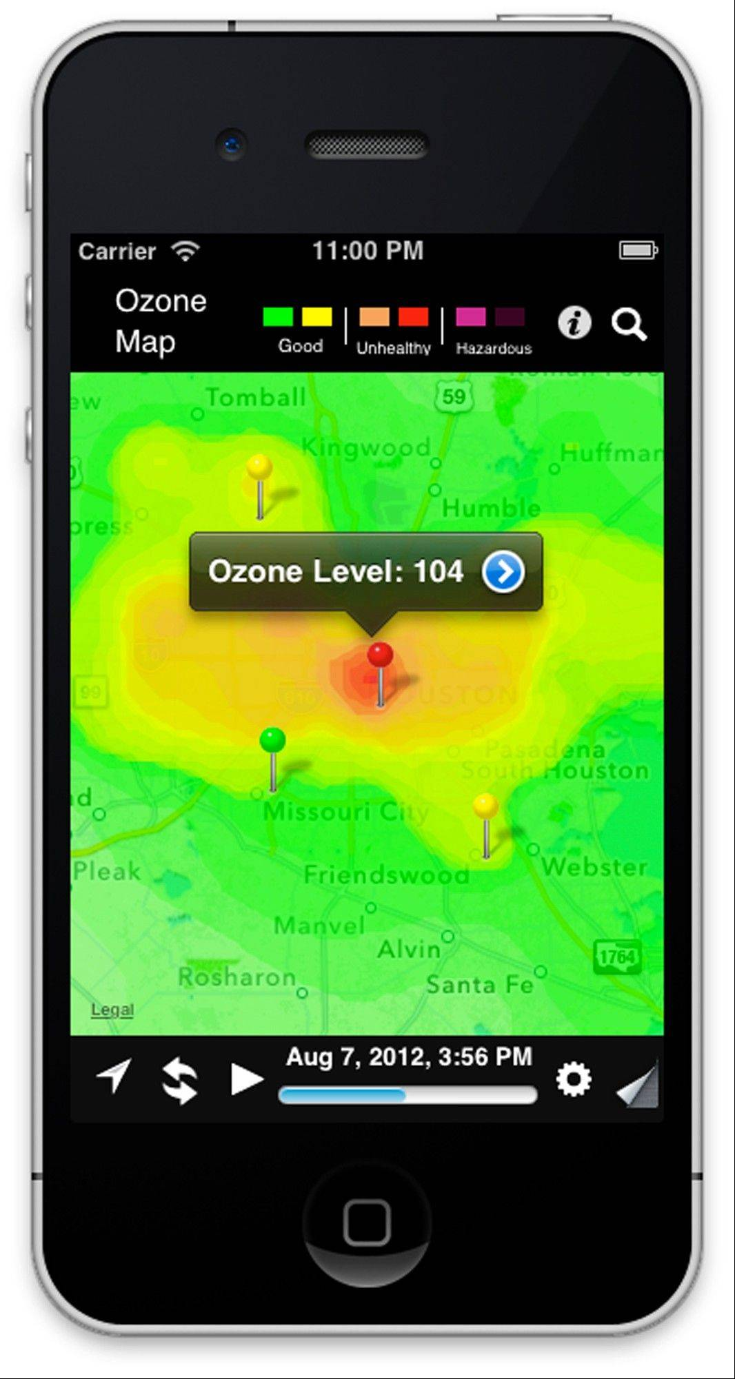This screenshot provided by the University of Houston shows a new app available for iPhones and Android smartphones. The Houston Ozone Map app collects data from 74 air and wind monitors throughout the Houston area, giving residents nearly real-time data on smog.
