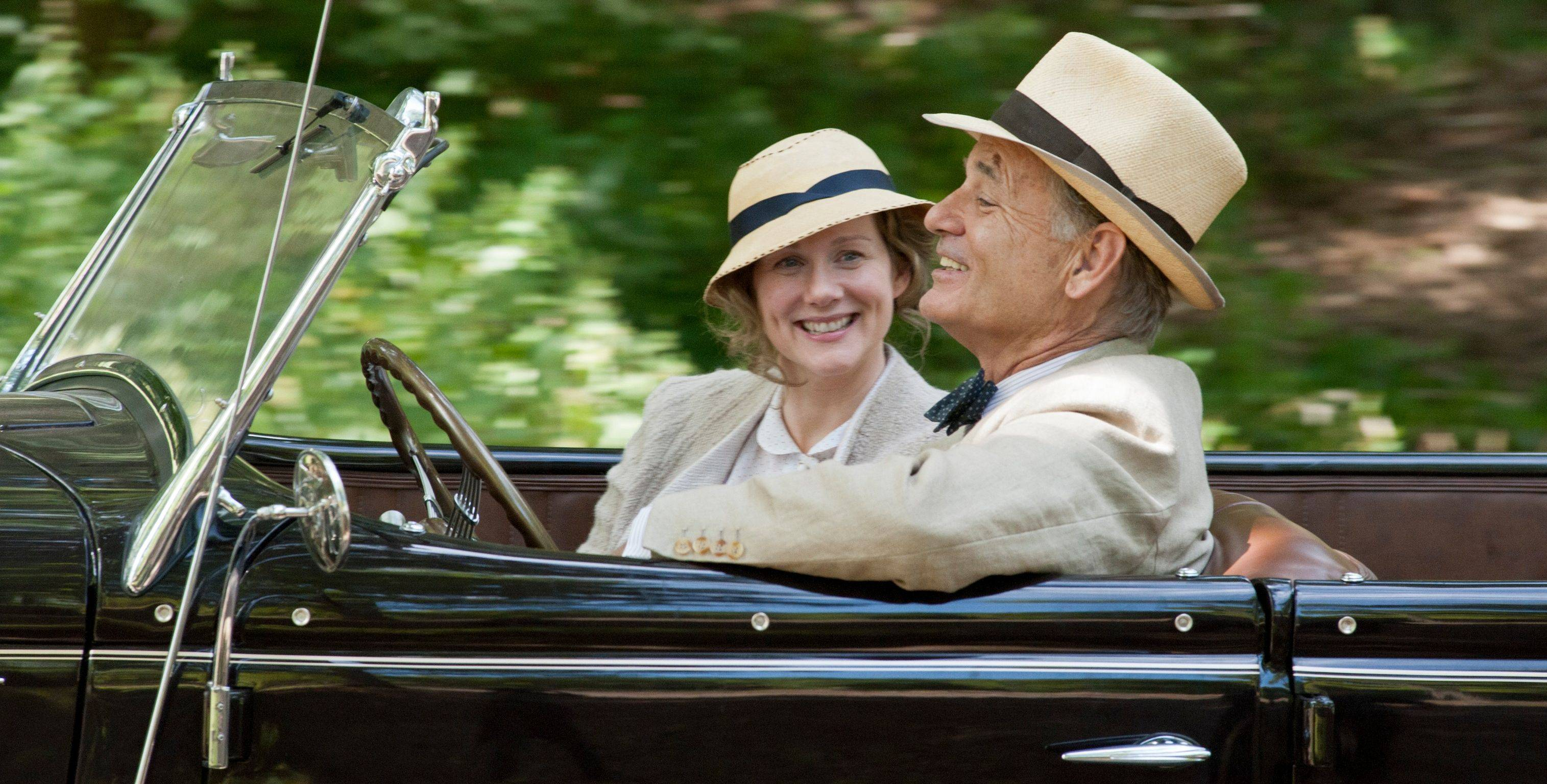 "Daisy (Laura Linney) accompanies her cousin President Franklin D. Roosevelt (Bill Murray) on a drive in the historical drama ""Hyde Park on the Hudson."""