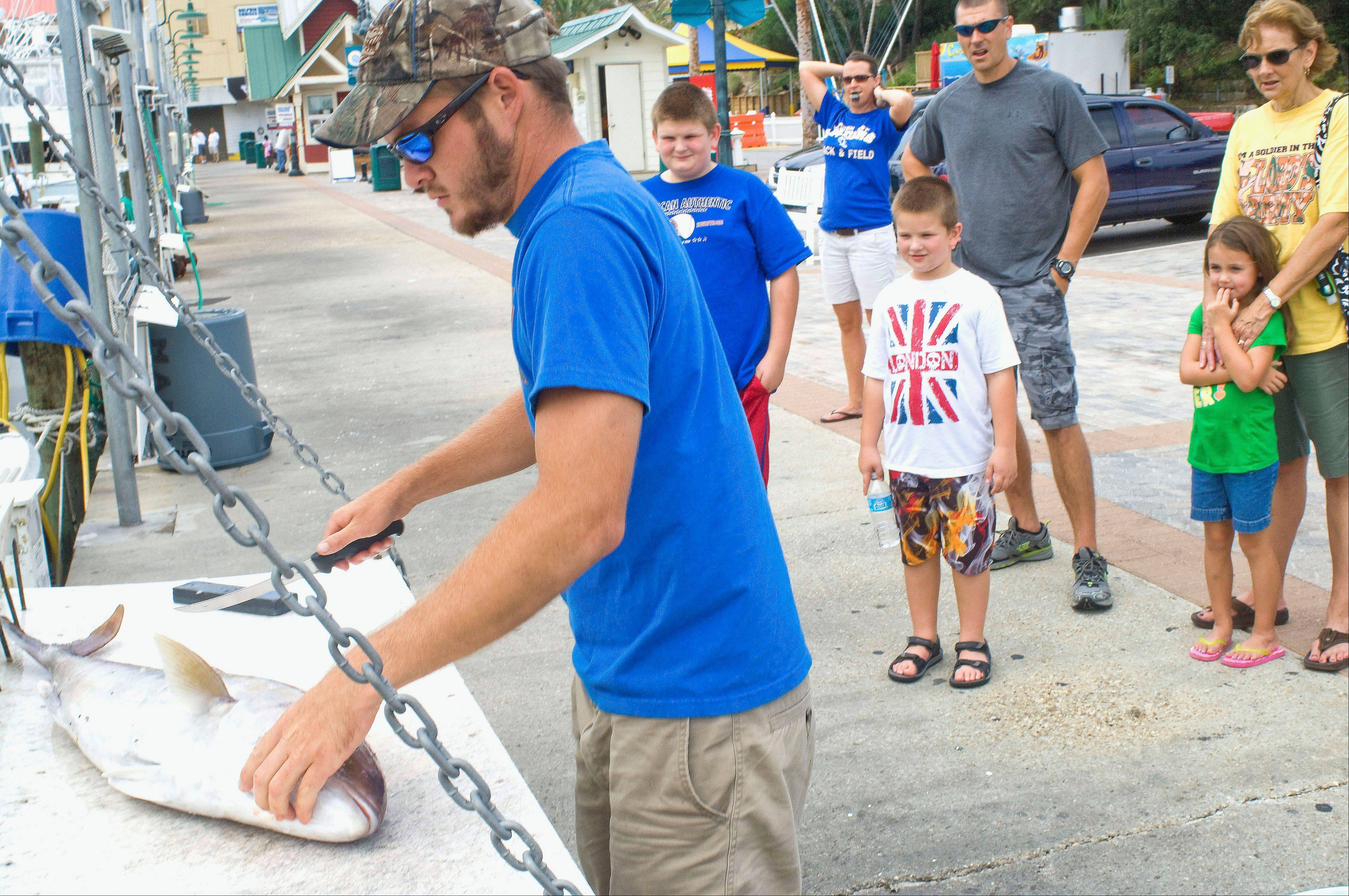 Travis Chunn prepares to fillet a fish in front of an amused group of onlookers on the docks in Destin, Fla. Fishing is still a big industry in the Florida Panhandle resort city of Destin, which has a large charter boat fleet.