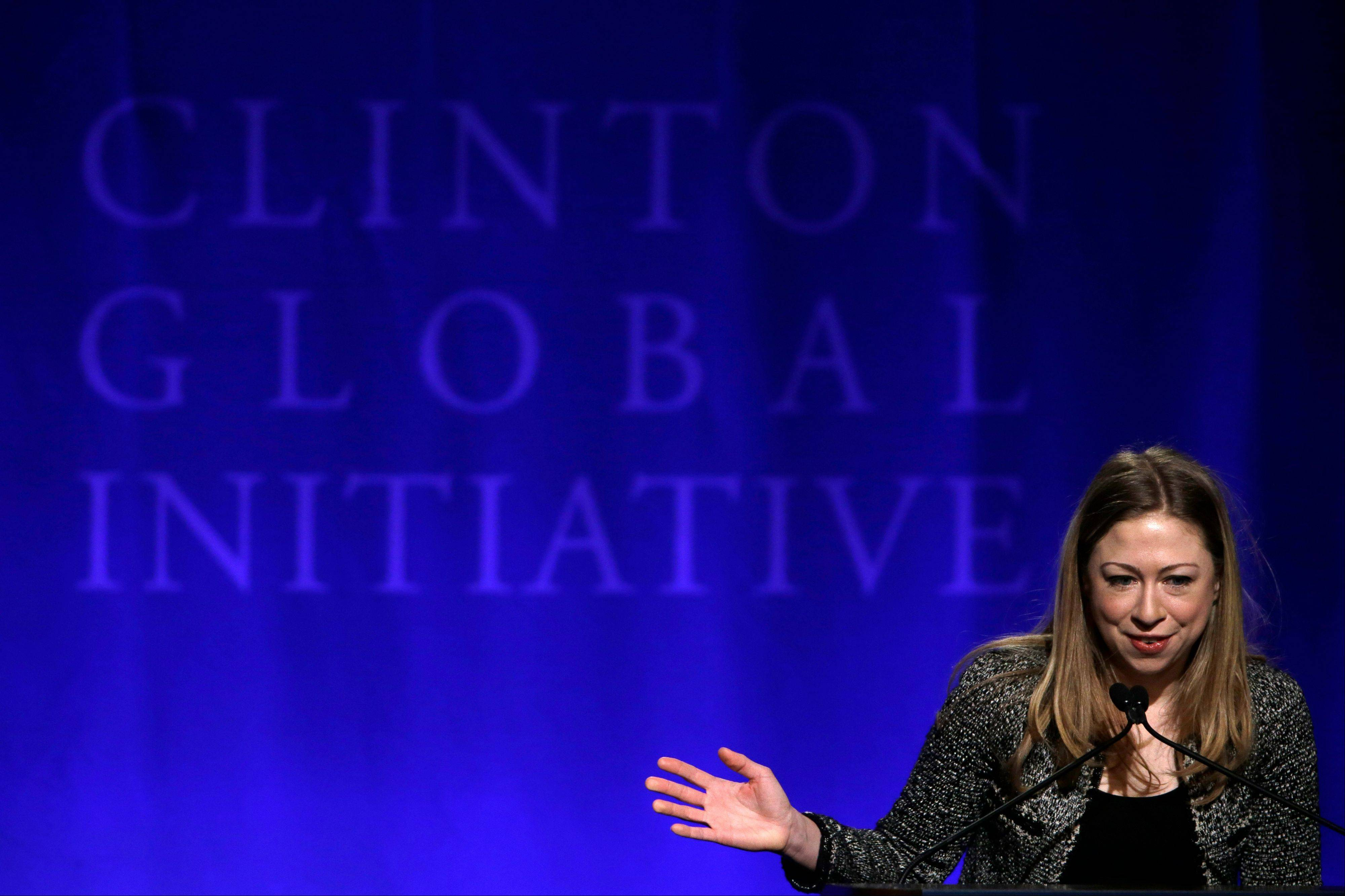 Chelsea Clinton speaks during a Clinton Global Initiative plenary session on empowering women at Washington University Saturday, April 6, in St. Louis. More than 1,000 university students from 75 countries and all 50 states are gathered for a weekend of sessions seeking practical and innovative solutions to the world's problems.