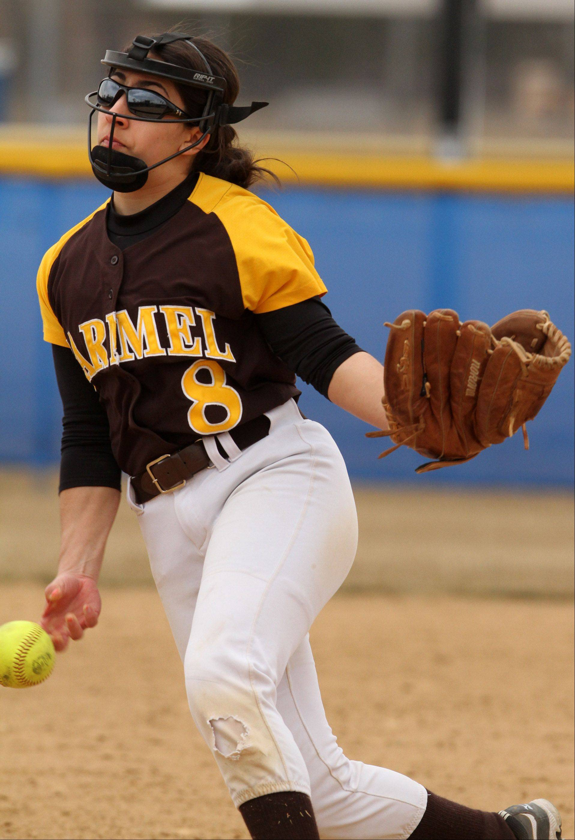 Carmel pitcher Mia Dicara at Warren on Saturday.