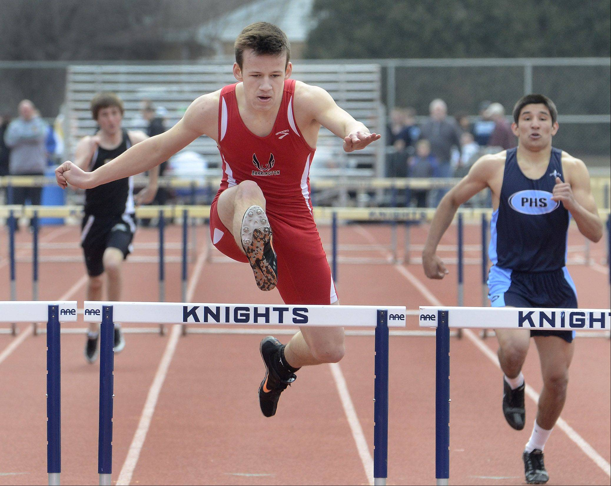 Barrington's Alec Webber wins the third heat of the 300 intermediate hurdles during the Prospect Relays on Saturday.