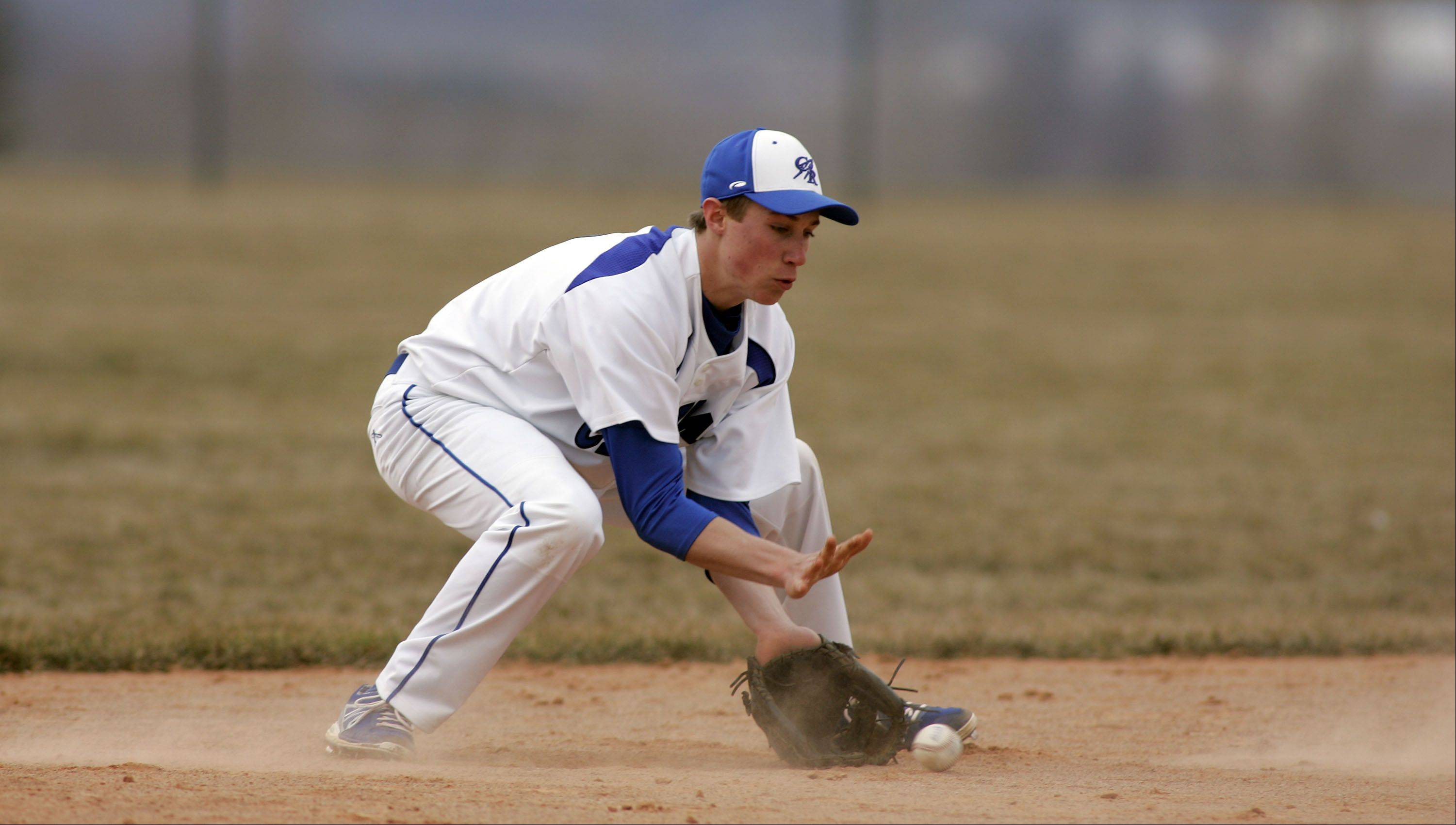 Burlington Central's Drew Wiss during Cary-Grove at Burlington Central baseball Saturday.