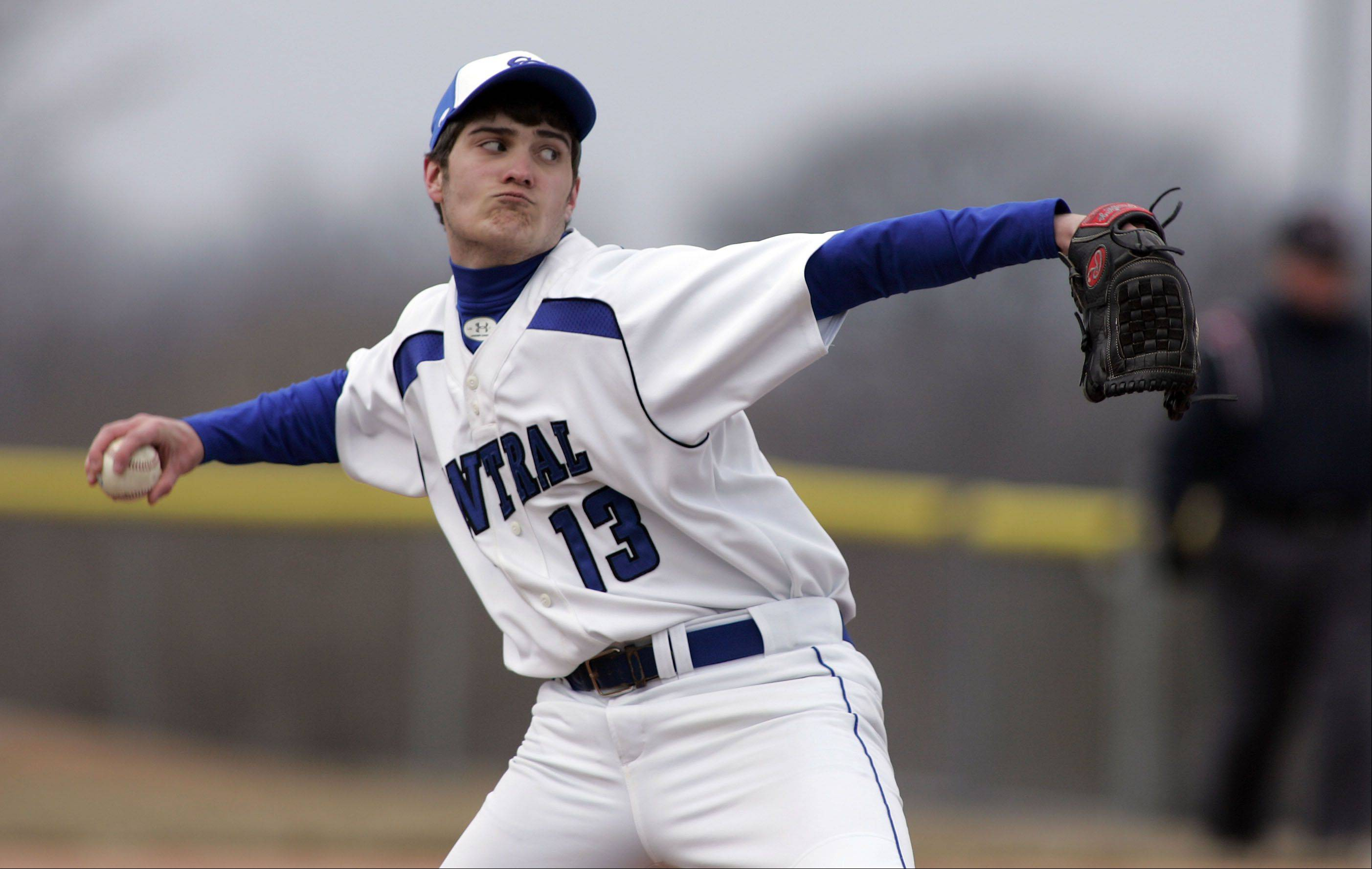 Burlington Central's Alex Bell delivers during Cary-Grove at Burlington Central baseball Saturday.