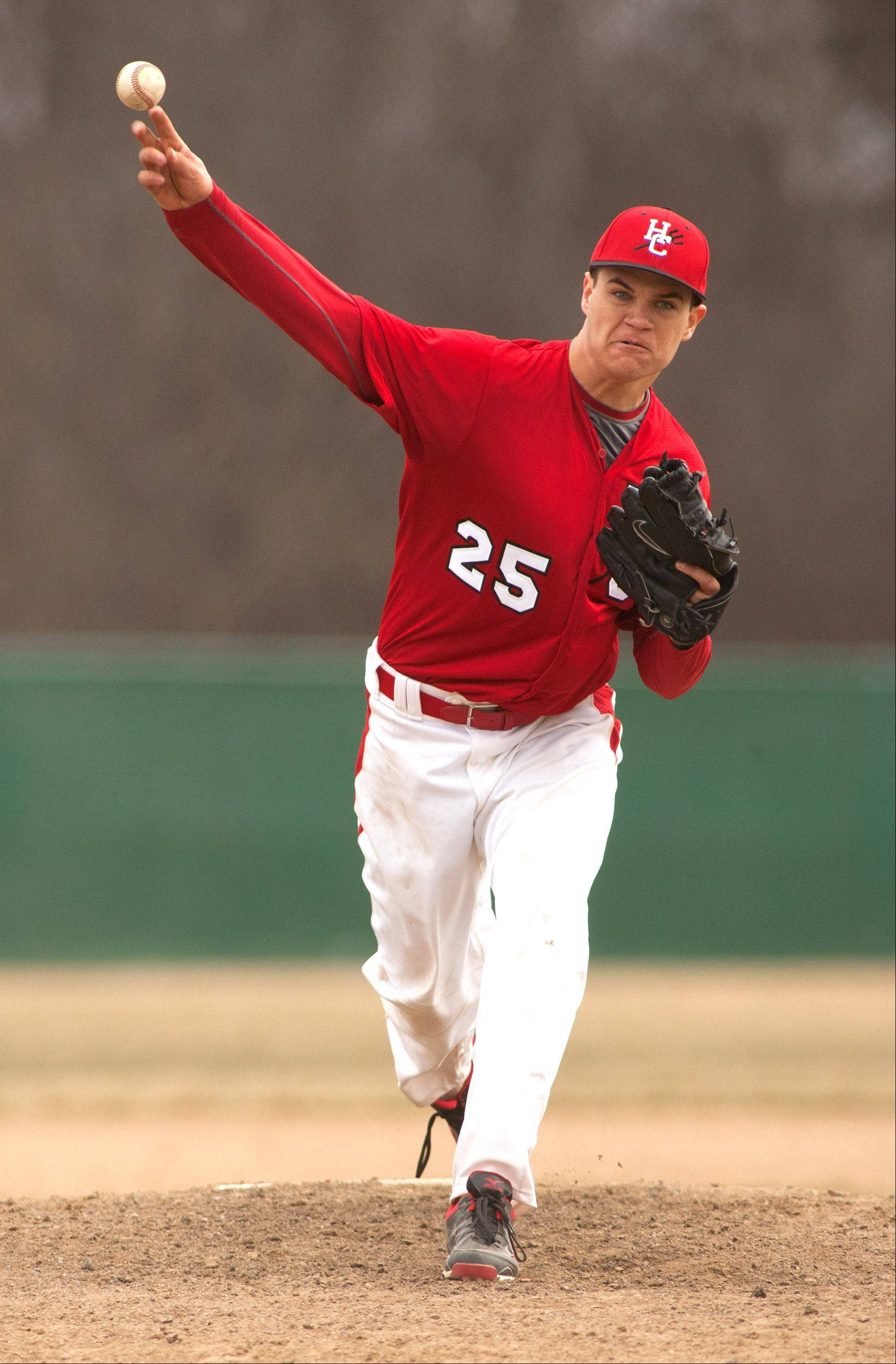 Hinsdale Central pitcher Bobby Skogsbergh delivers a pitch against Glenbard West.