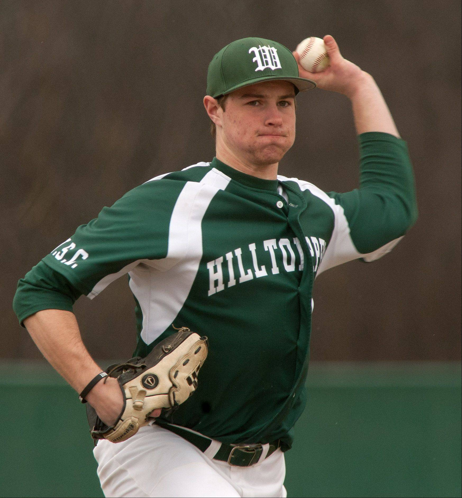 Grant Greeno delivers a pitch during Glenbard West's 6-5 win over Hinsdale Central.