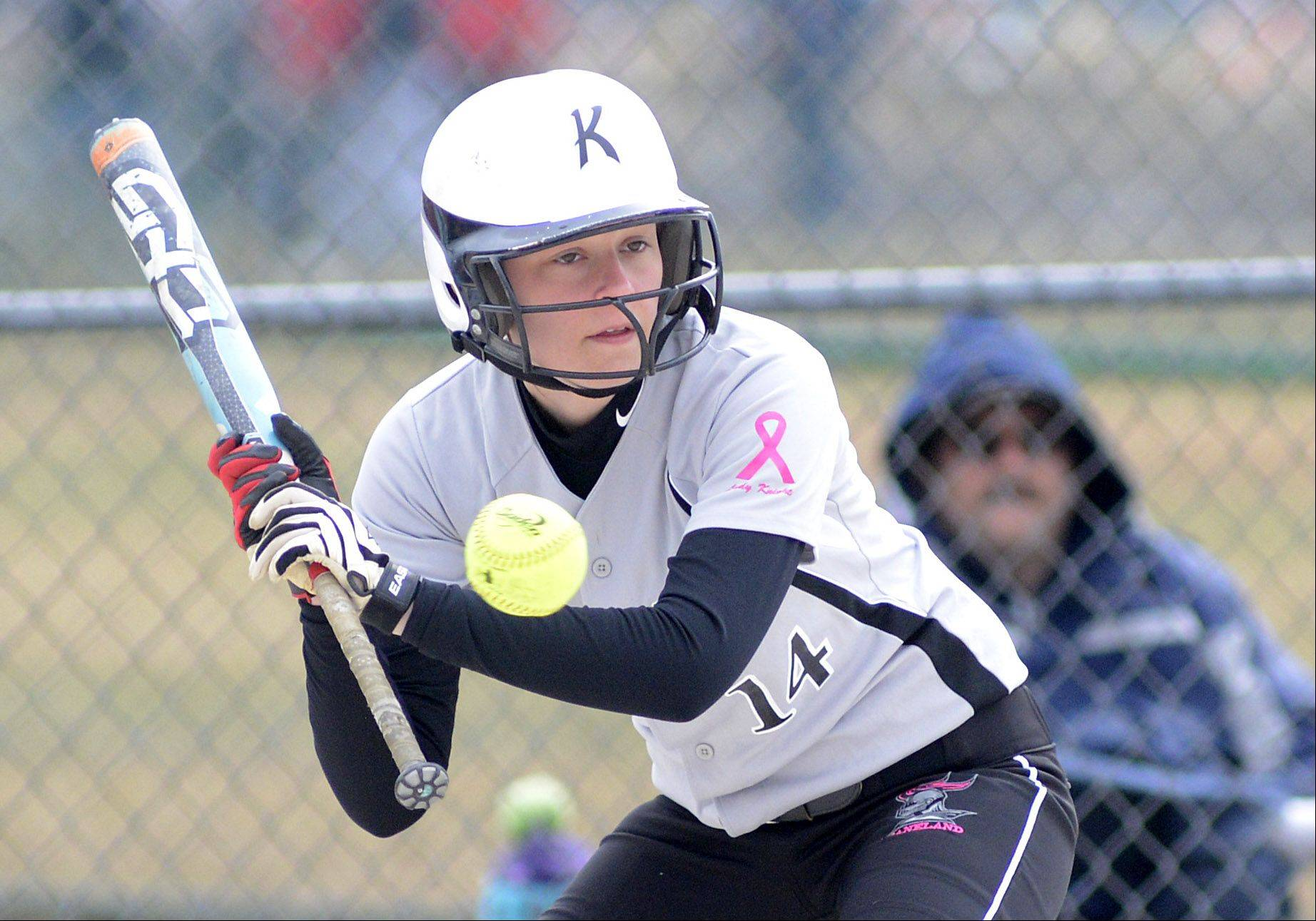 Kaneland's Hayley Contorno up to bat in the first inning on Saturday, April 6.