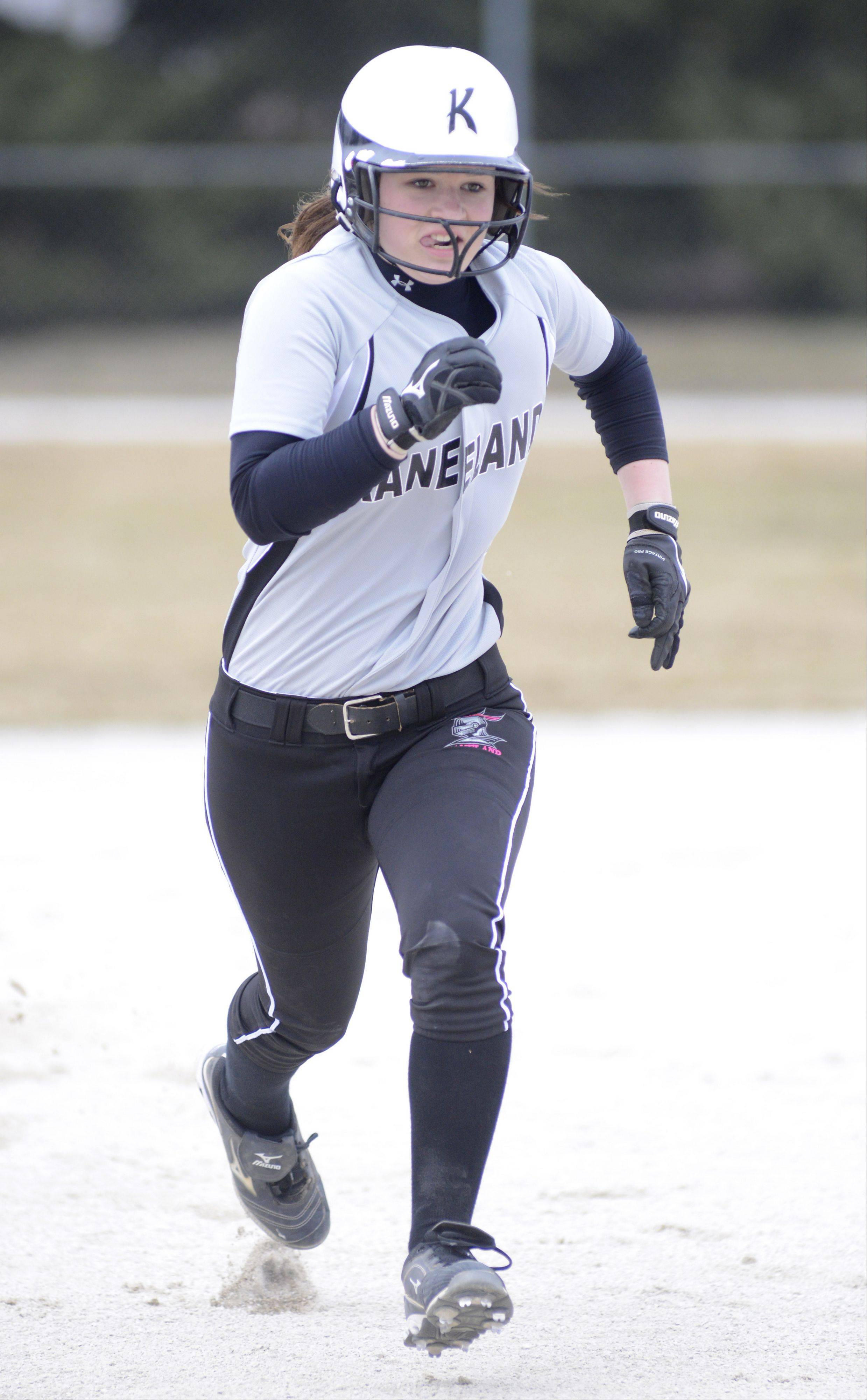Kaneland's Allyson O'Herron heads for third base in the first inning on Saturday, April 6.