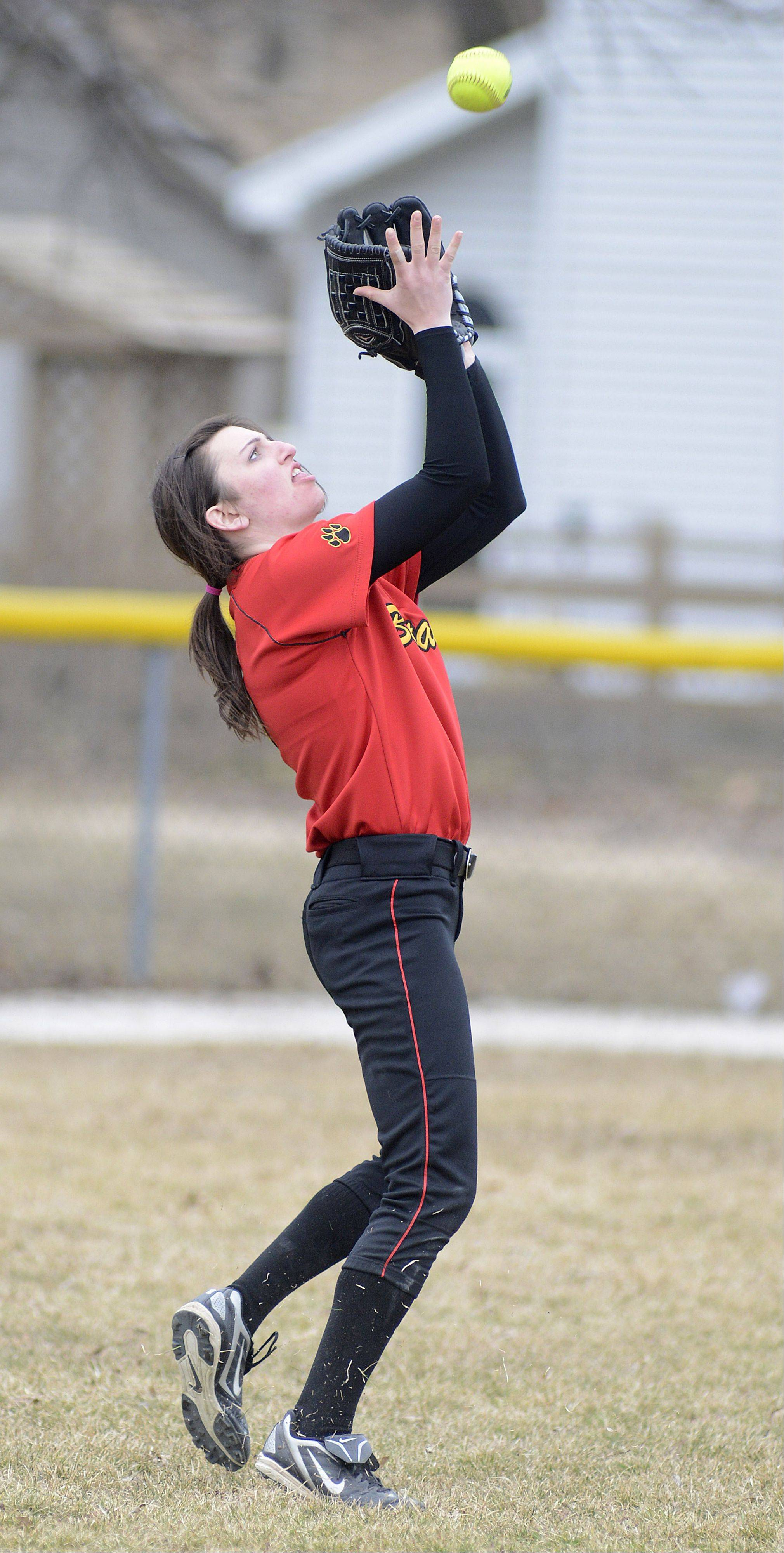Batavia's Nicole Peercy catches a fly ball giving Kaneland an out in the fourth inning on Saturday, April 6.