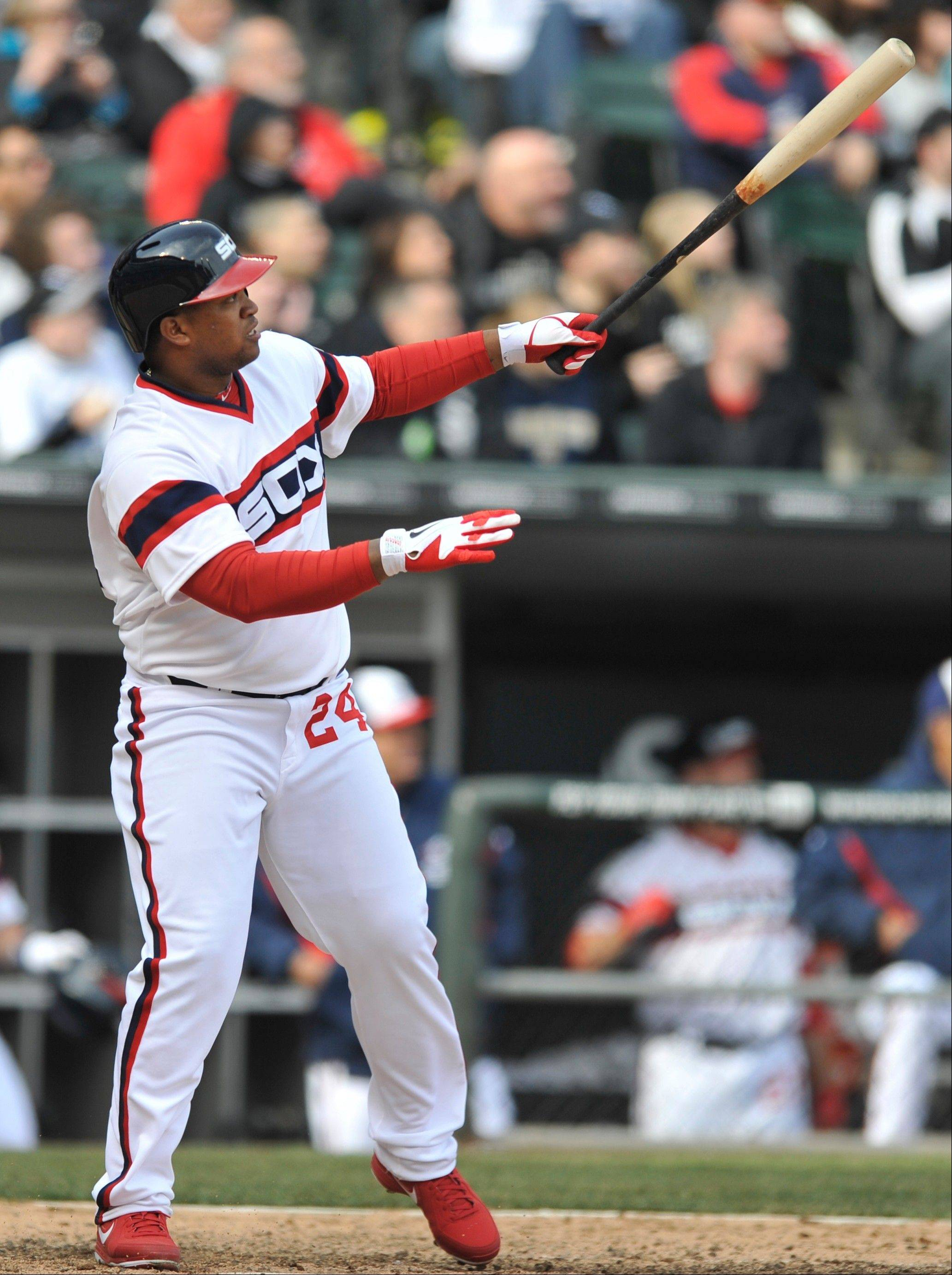 Dayan Viciedo watches his walkoff home run in the 10th inning Sunday at U.S. Cellular Field. Viciedo�s shot gave the Sox a 4-3 win over Seattle.