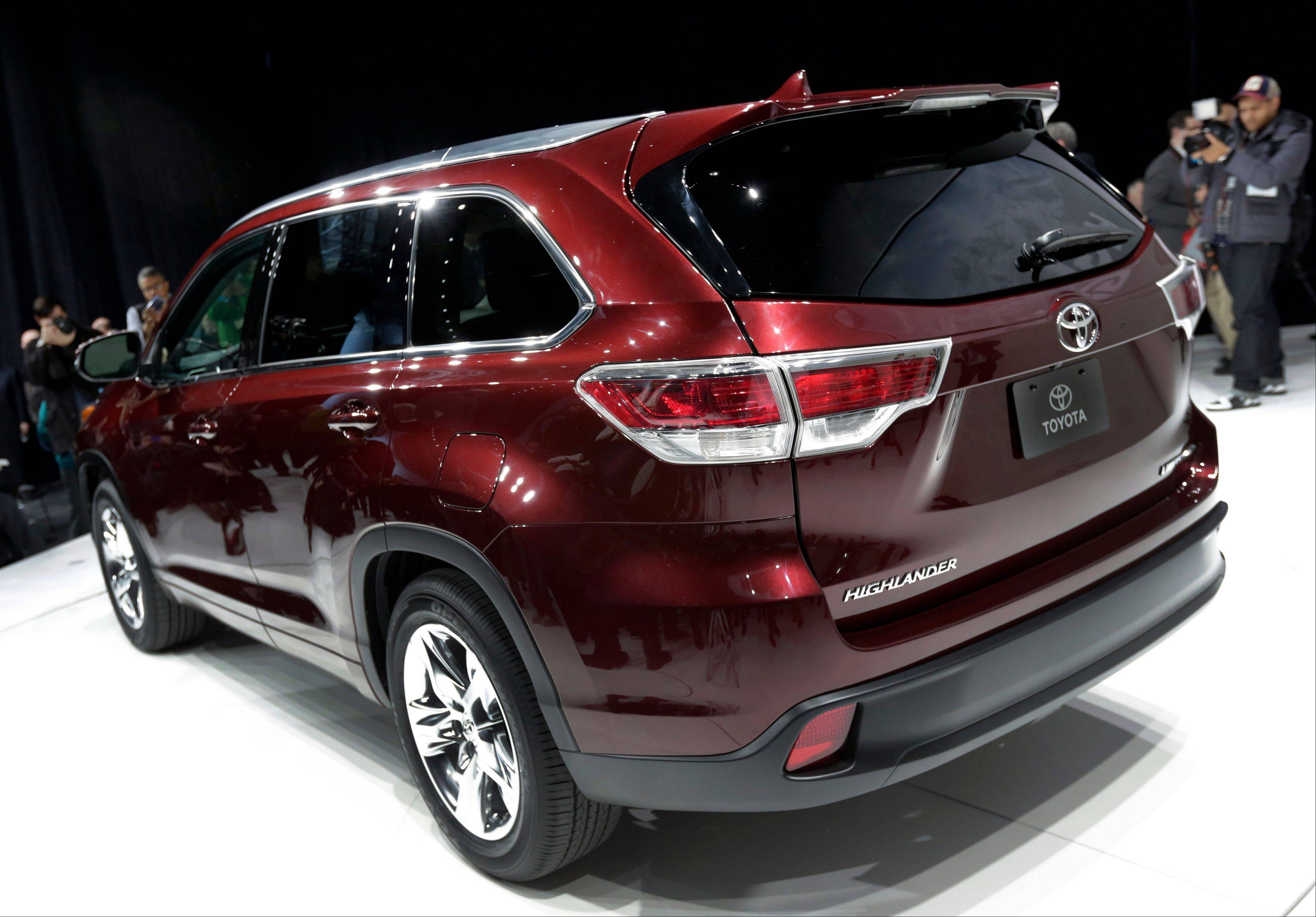 The 2014 Toyota Highlander is presented at the New York International Auto Show, in New York's Javits Center.