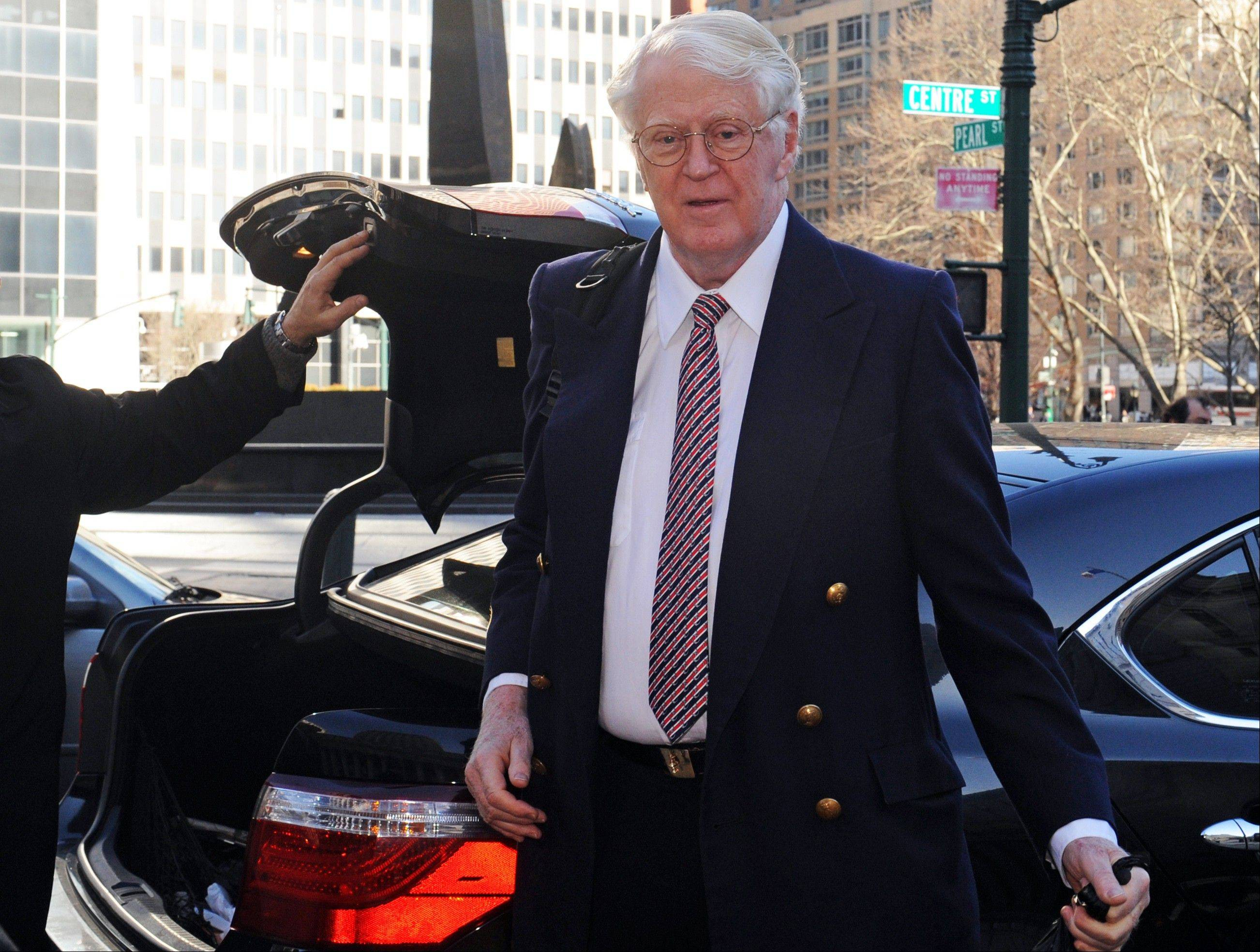 Florida energy magnate William Koch arrives at Manhattan federal court, Wednesday, March 27, 2013, in New York. Koch alleges in a federal lawsuit that California businessman Eric Greenberg sold him $300,000 in vintage wine, some of it supposedly dated to 1805, that turned out to be phony.