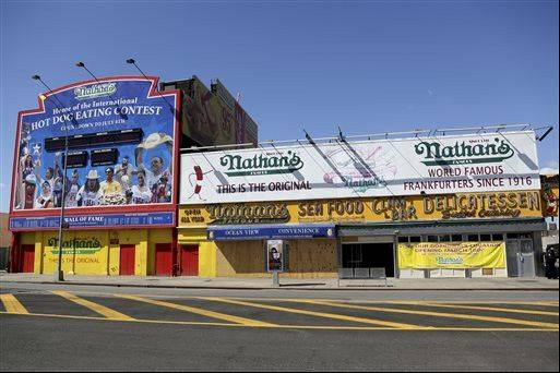 The boarded up flagship Nathan's Famous hot dog stand in New York's Coney Island.
