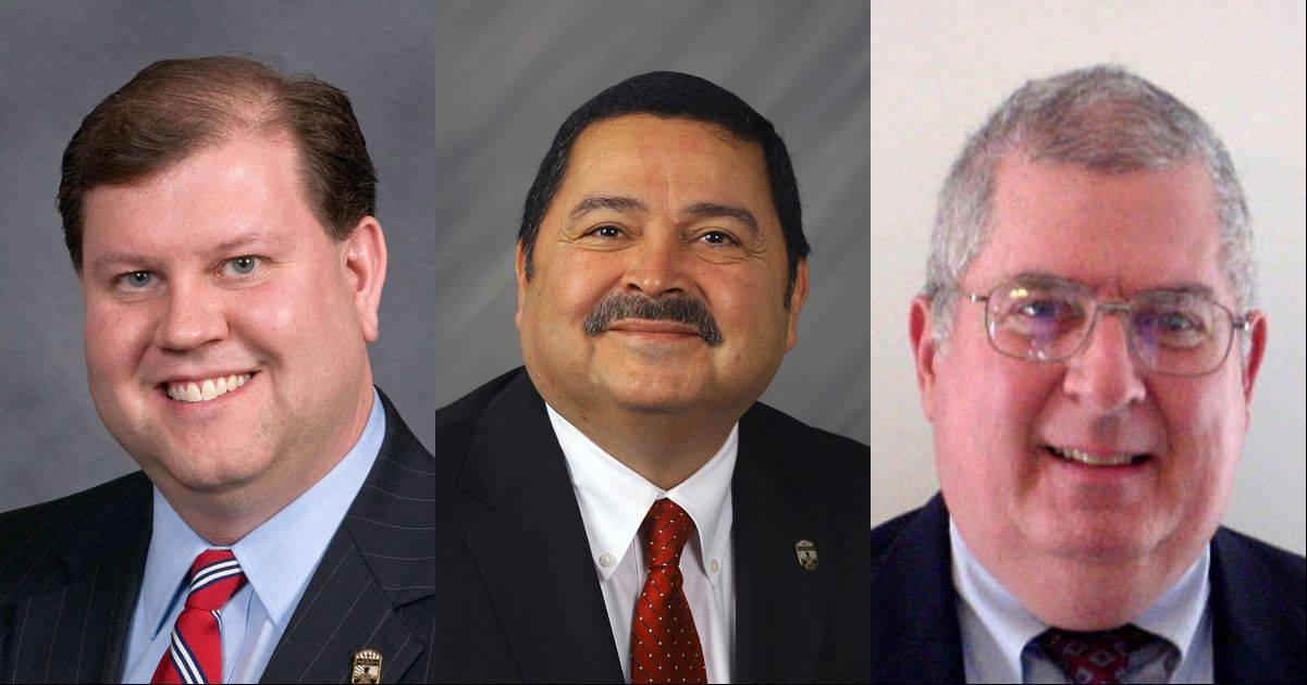 West Chicago mayoral candidates are Nicholas Dzierzanowski, left, Ruben Pineda, center, and Wayne Woodward, right.