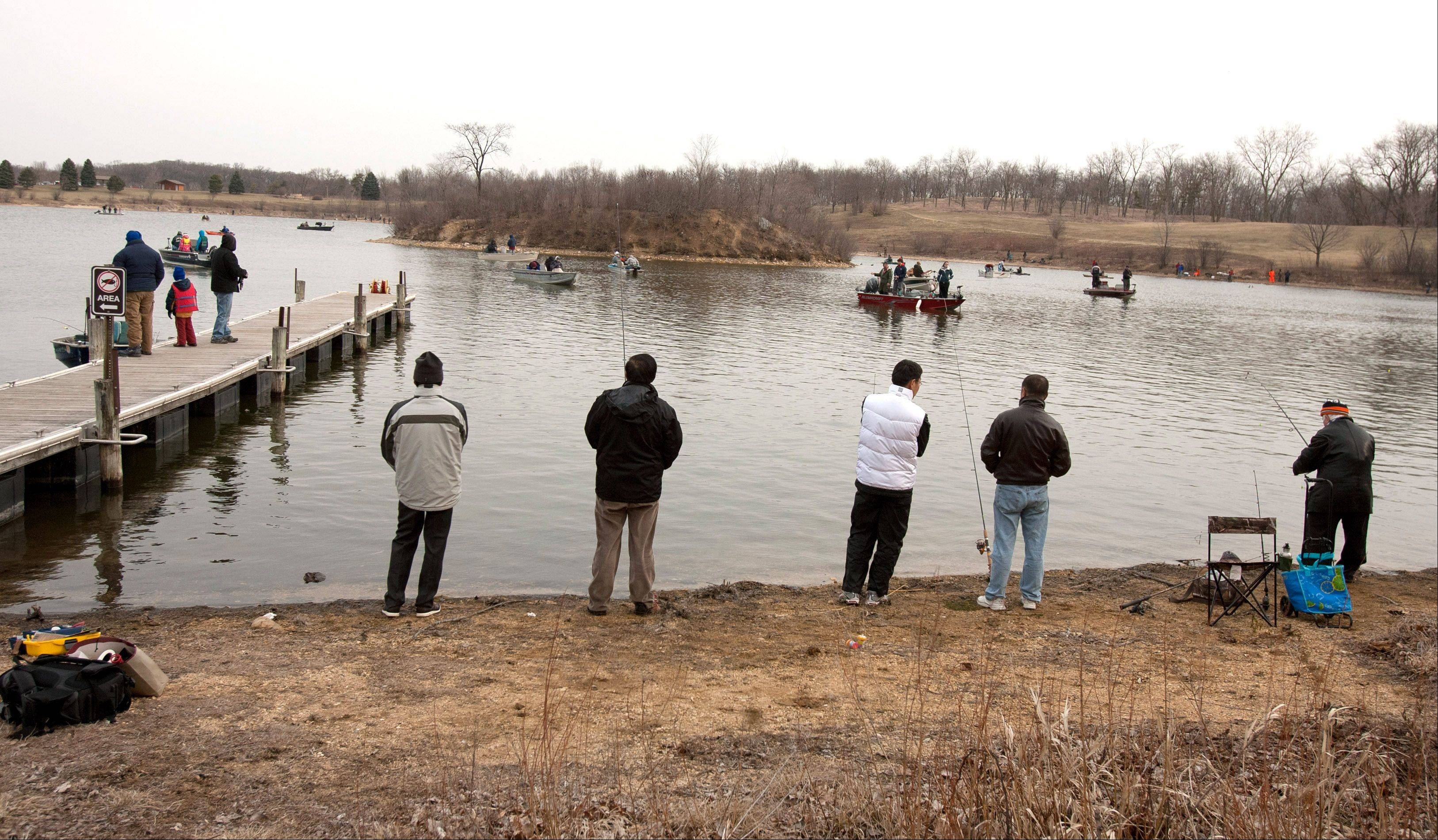 The opening day of trout season along the shores of Silver Lake at the Blackwell Forest Preserve.